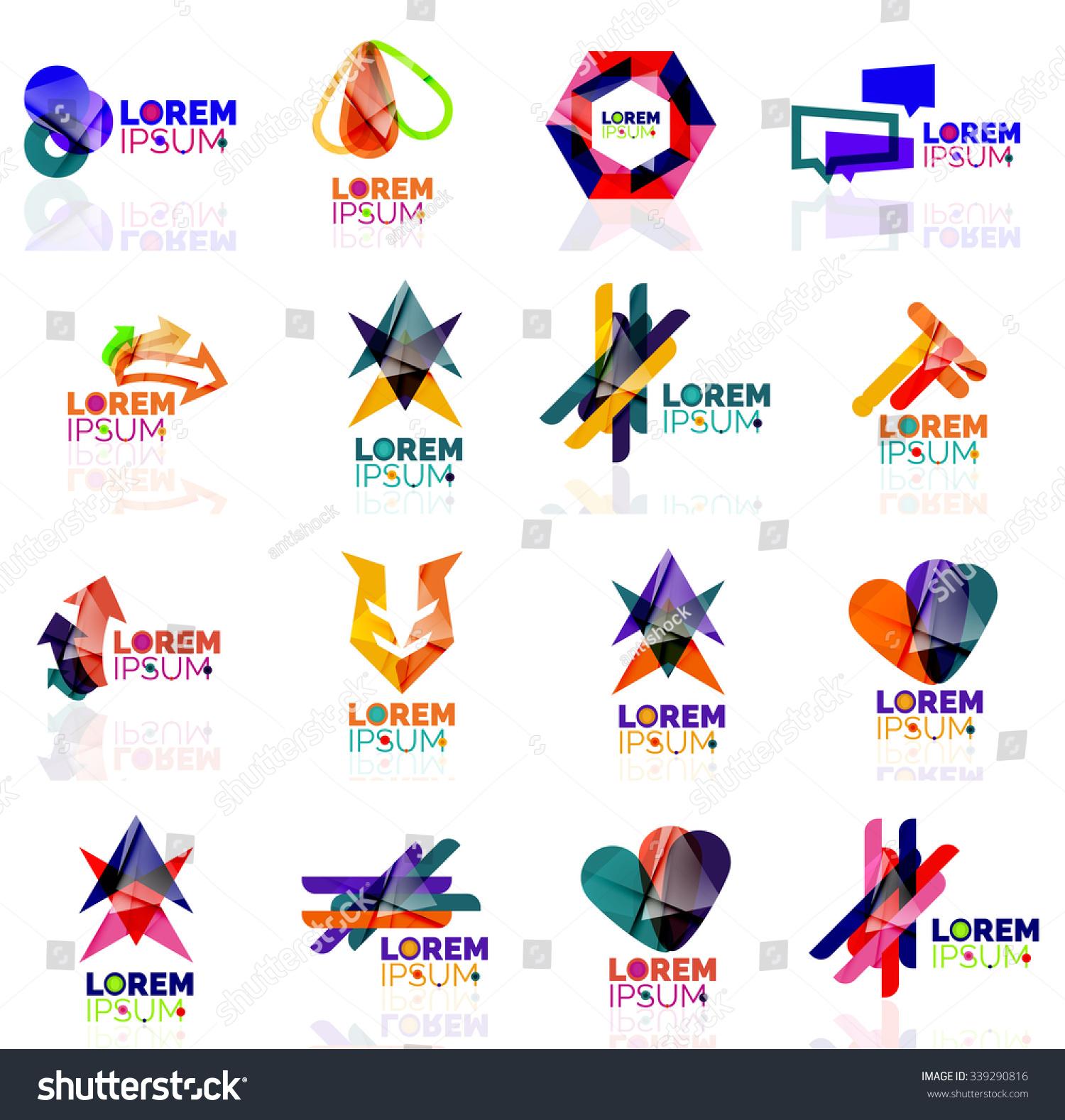 Geometric Shapes Company Logo Set, Paper Origami Style ... - photo#40