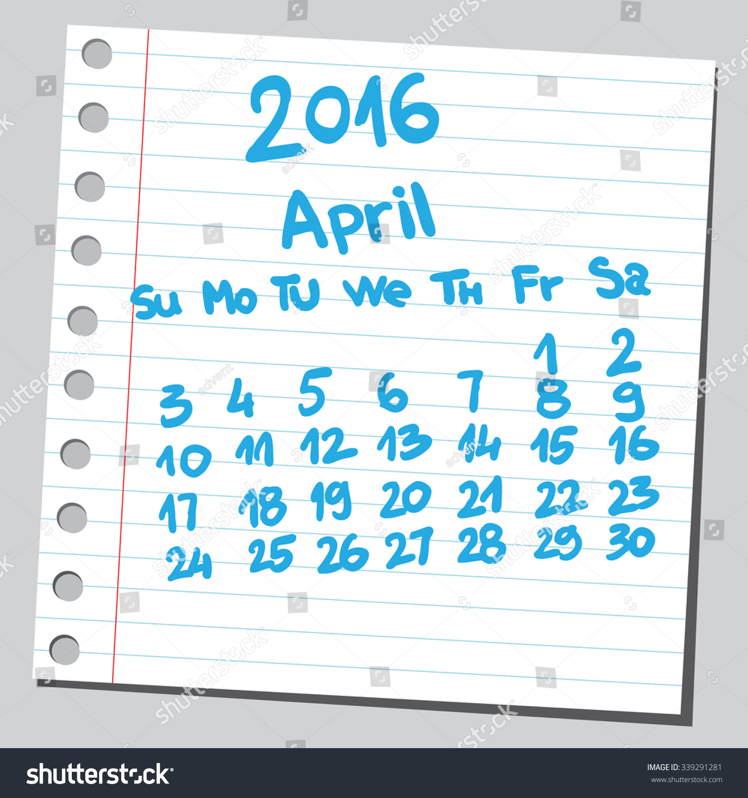 Calendar April Vector : Calendar april sketch style stock vector