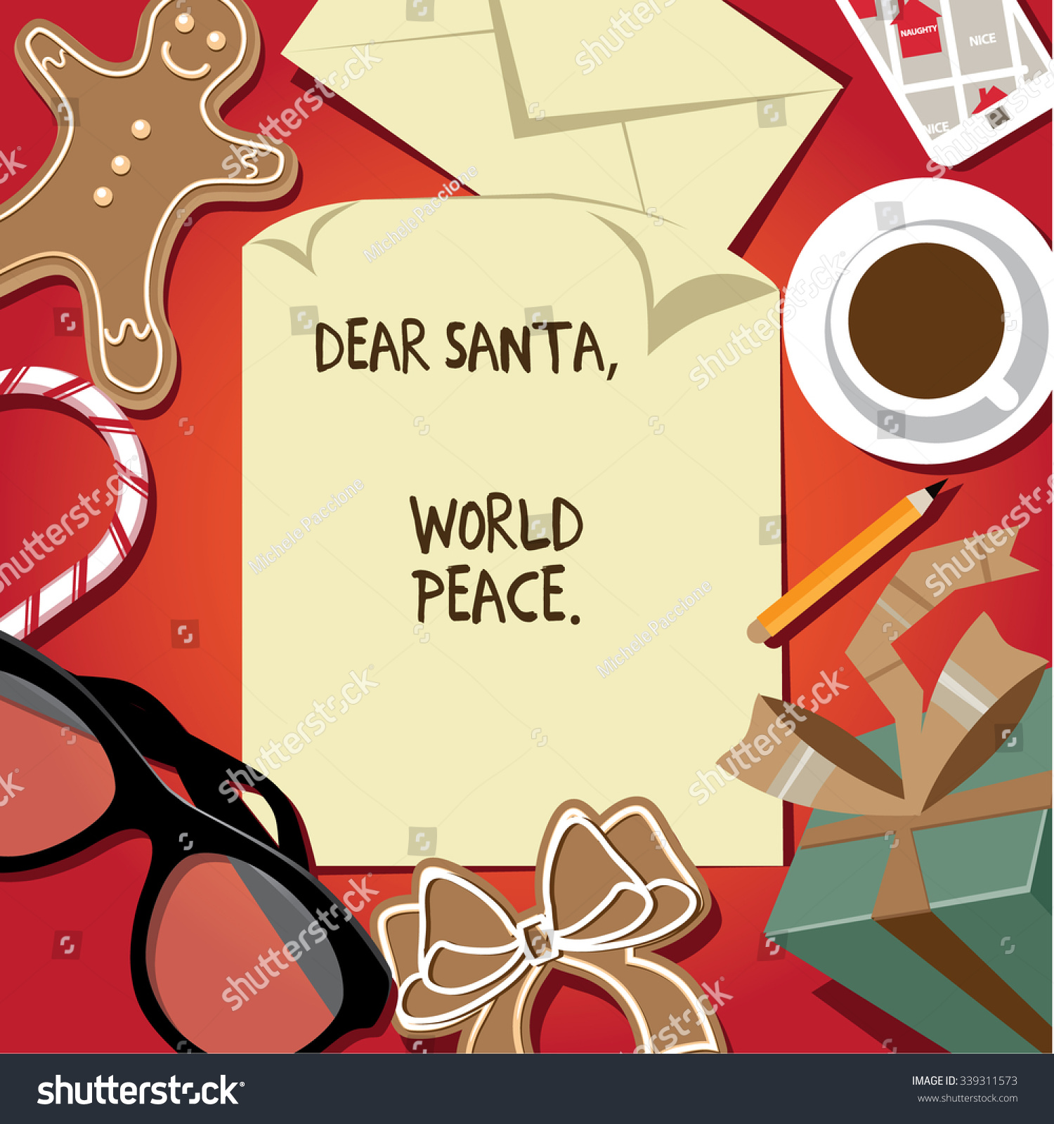 dear santa world peace letter from child on santas desk flat design eps 10