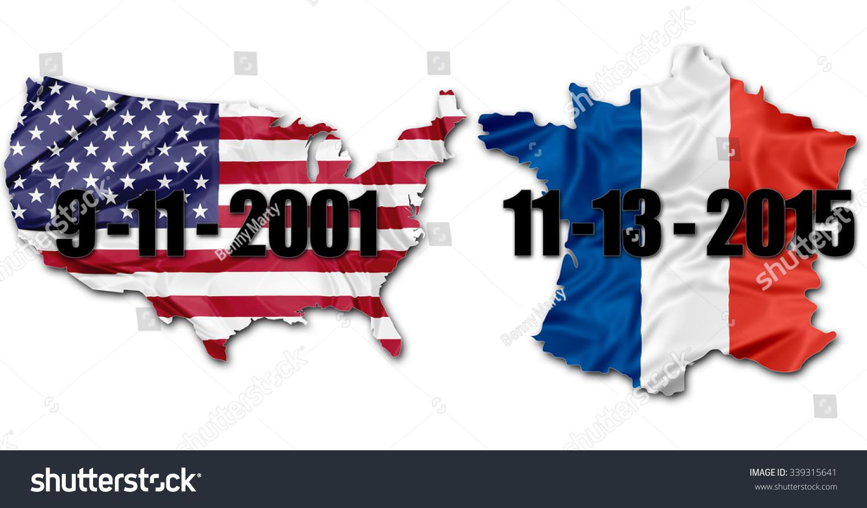 National Us Flag Frech Flag On Stock Illustration - Map of us terrorist attacks