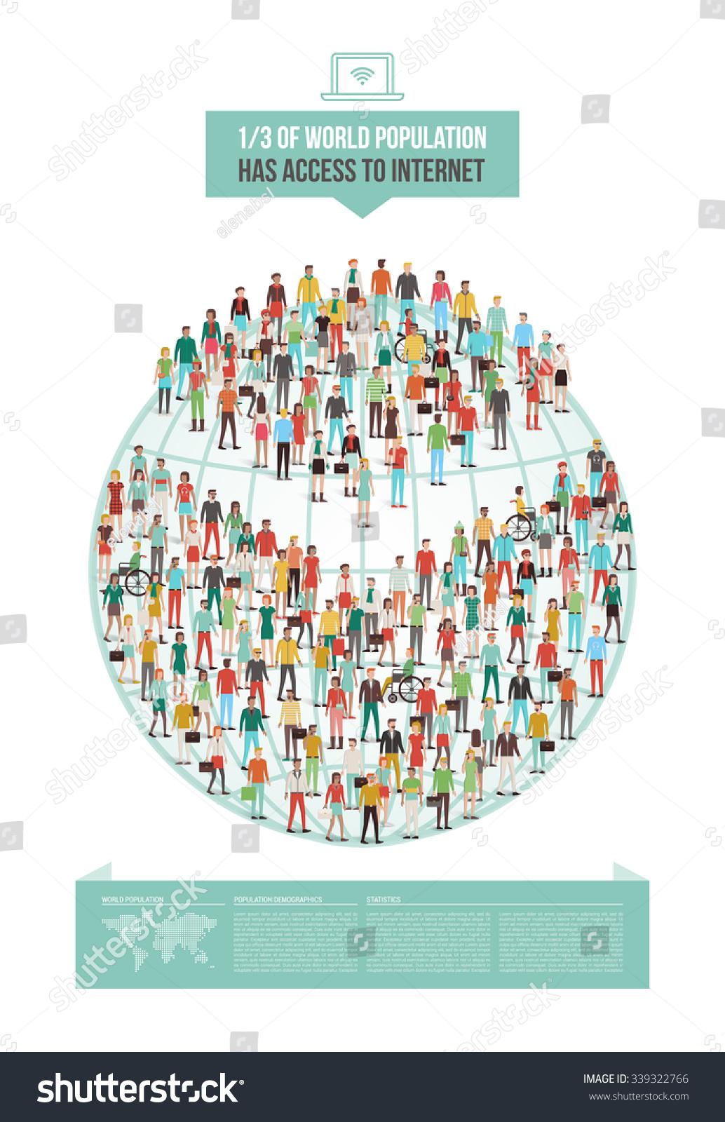 Global Internet Usage Statistic Demographics Pie Stock Vector