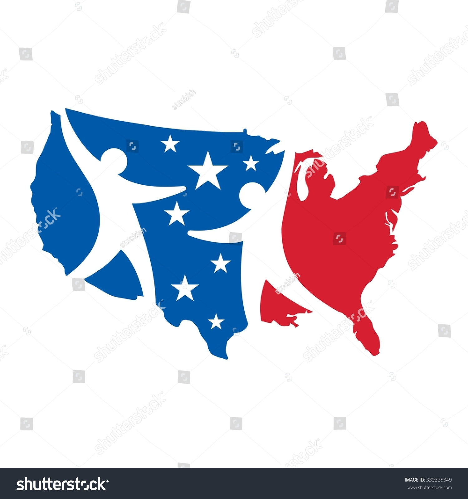 Usa Map Logo Vector Us Map Stock Vector 339325349 Shutterstock