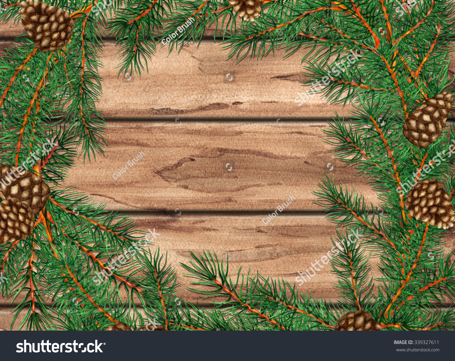 Pine Branches For Decoration Watercolor Wooden Background Pine Tree Branches With Cones