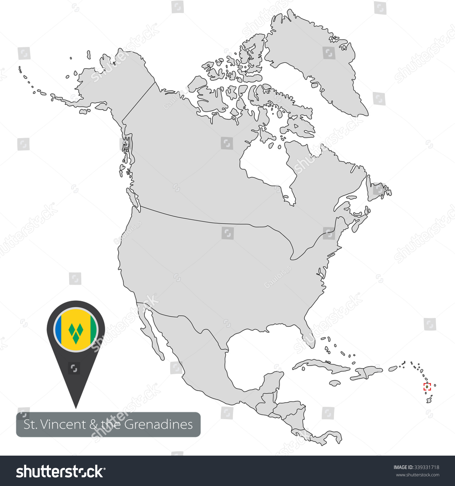 Map Saint Vincent Grenadines Official Flag Stock Photo Photo