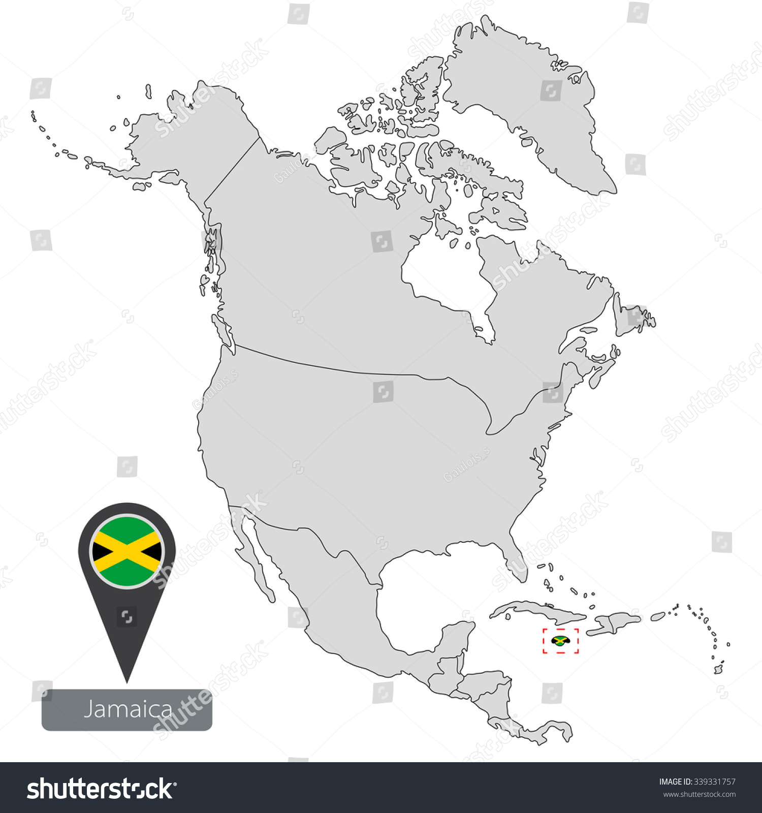 Map of Bahamas with an official flag. Location in North America | EZ ...