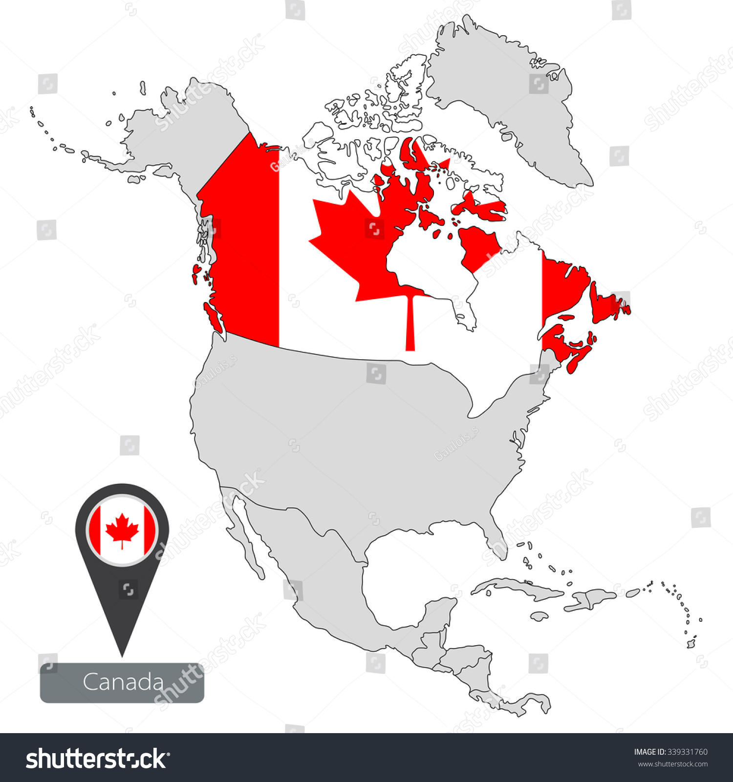 Map Canada Official Flag Location North Stock Vector - Canada location