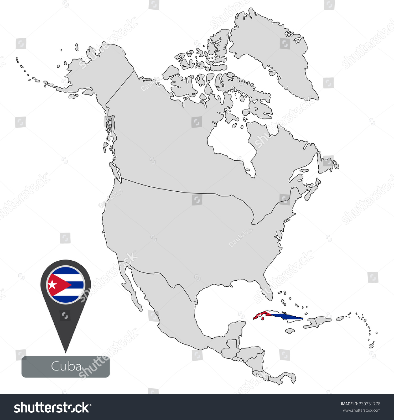 Map Cuba Official Flag Location North Stock Vector HD Royalty Free