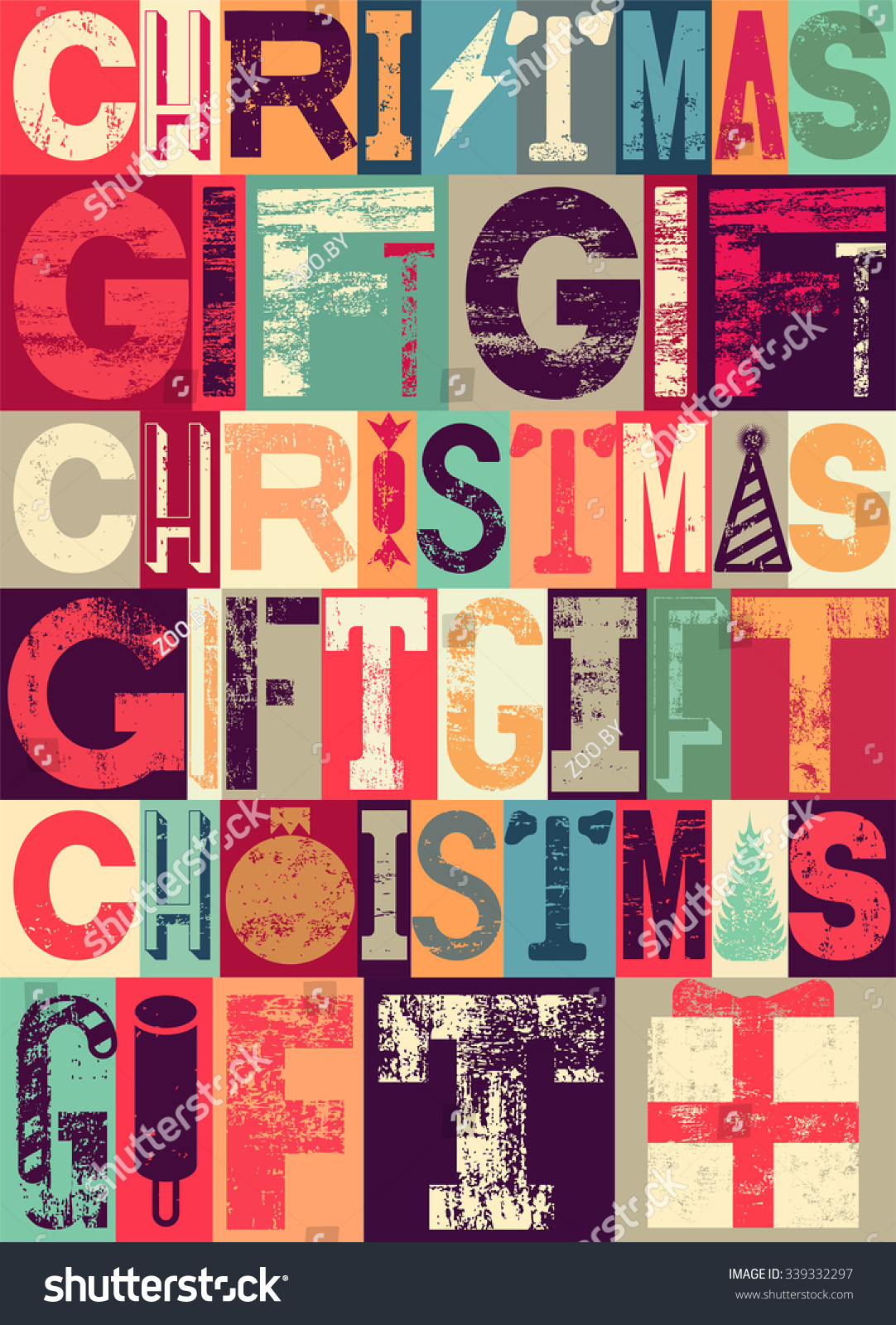Typographical vintage christmas gift poster design retro