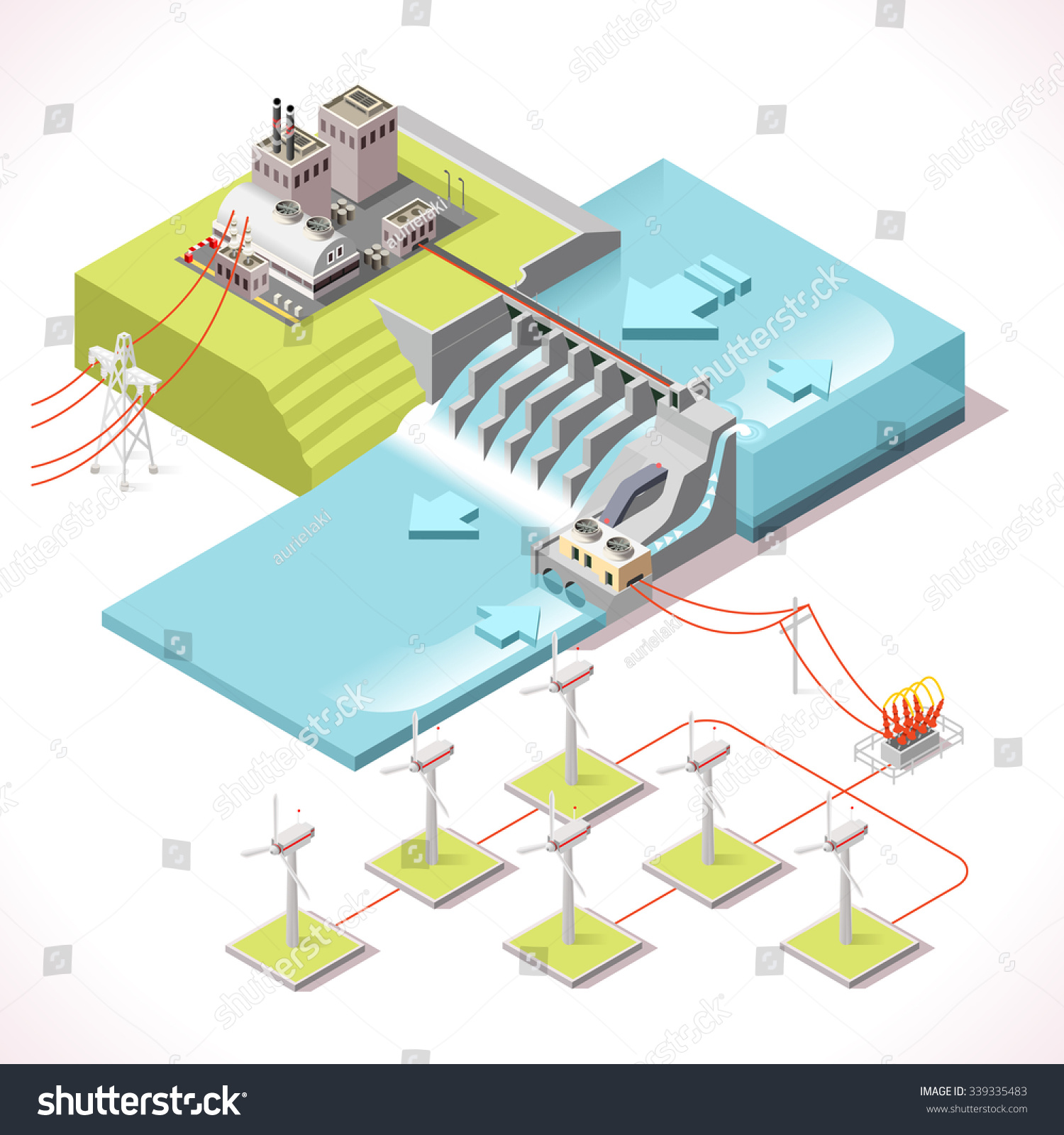 Hybrid Power Systems Hydroelectric Plant Windmill Stock Vector