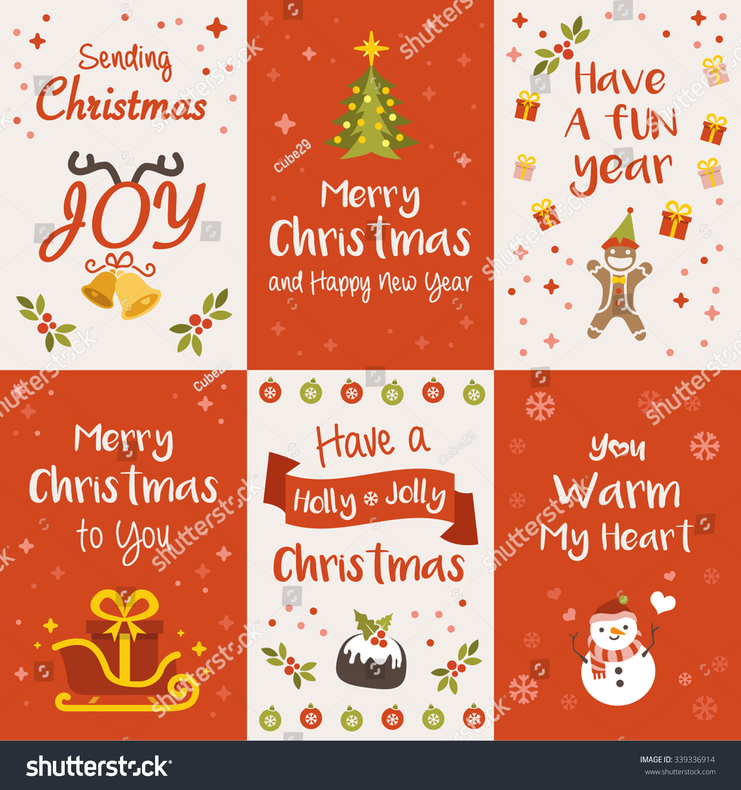 Christmas Greeting Cards Vector Illustration Stock Vector Hd
