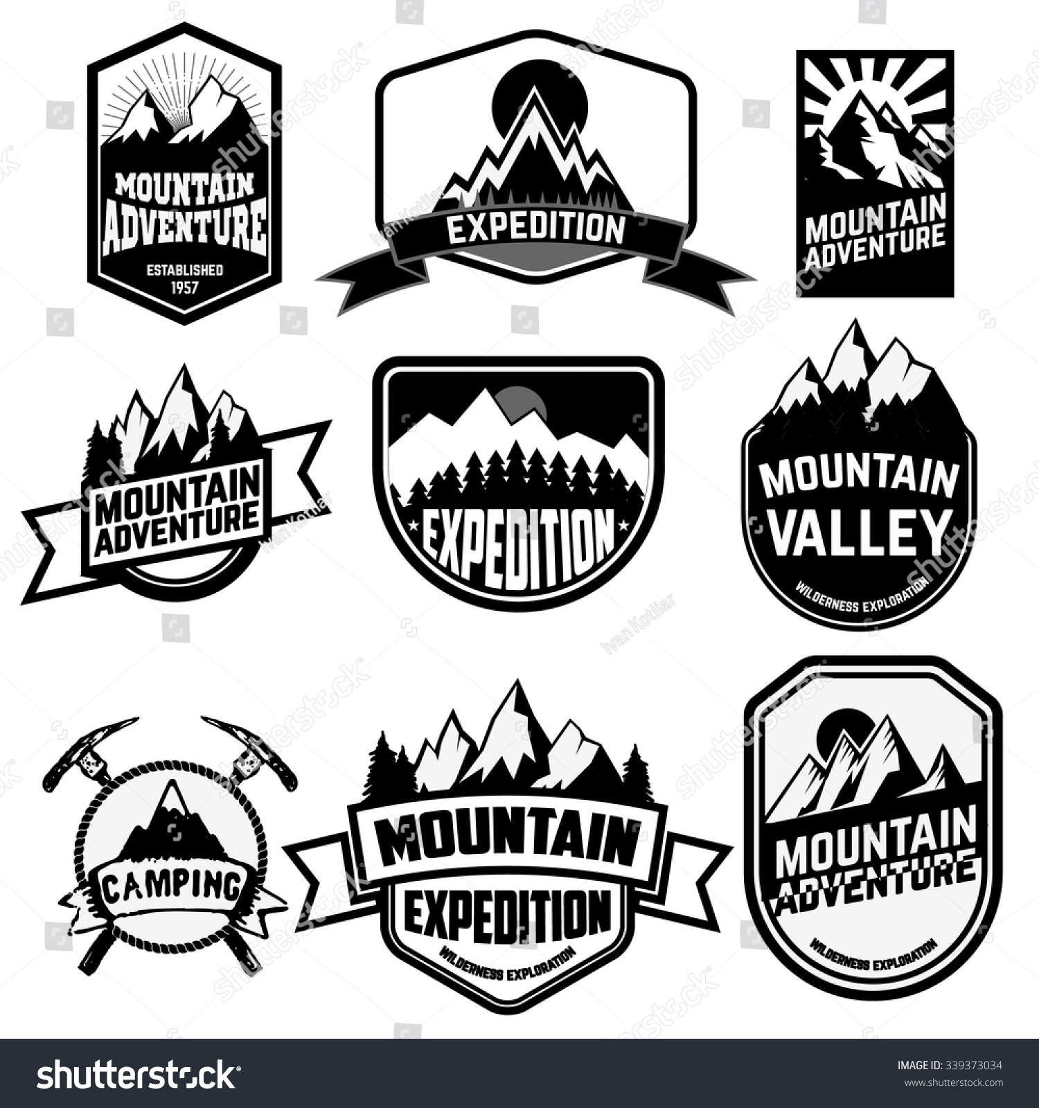 Royalty-free Set of vintage style mountains… #339373034 Stock Photo ...