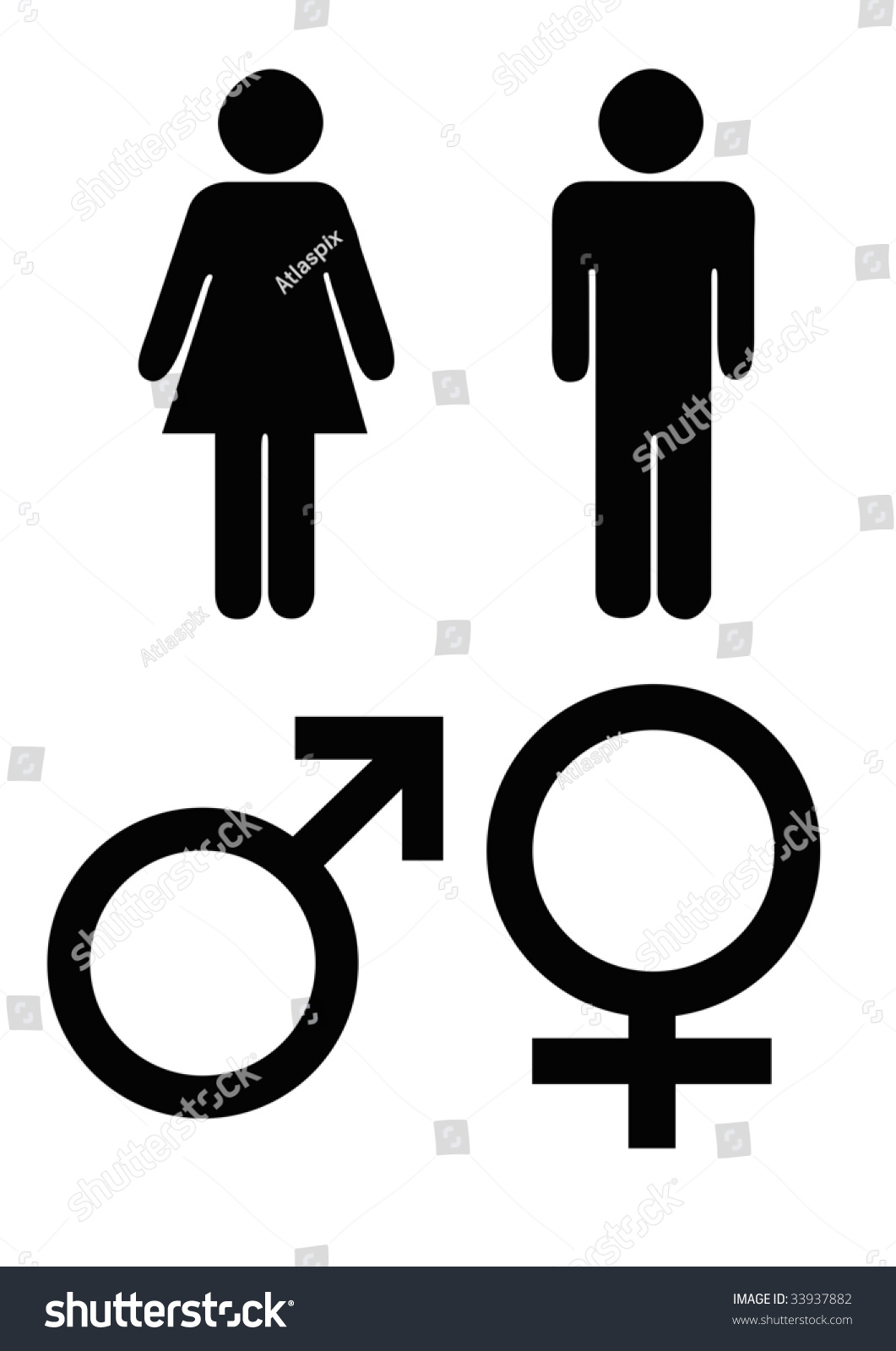 Male Female Gender Symbols Black Silhouette Stock Illustration