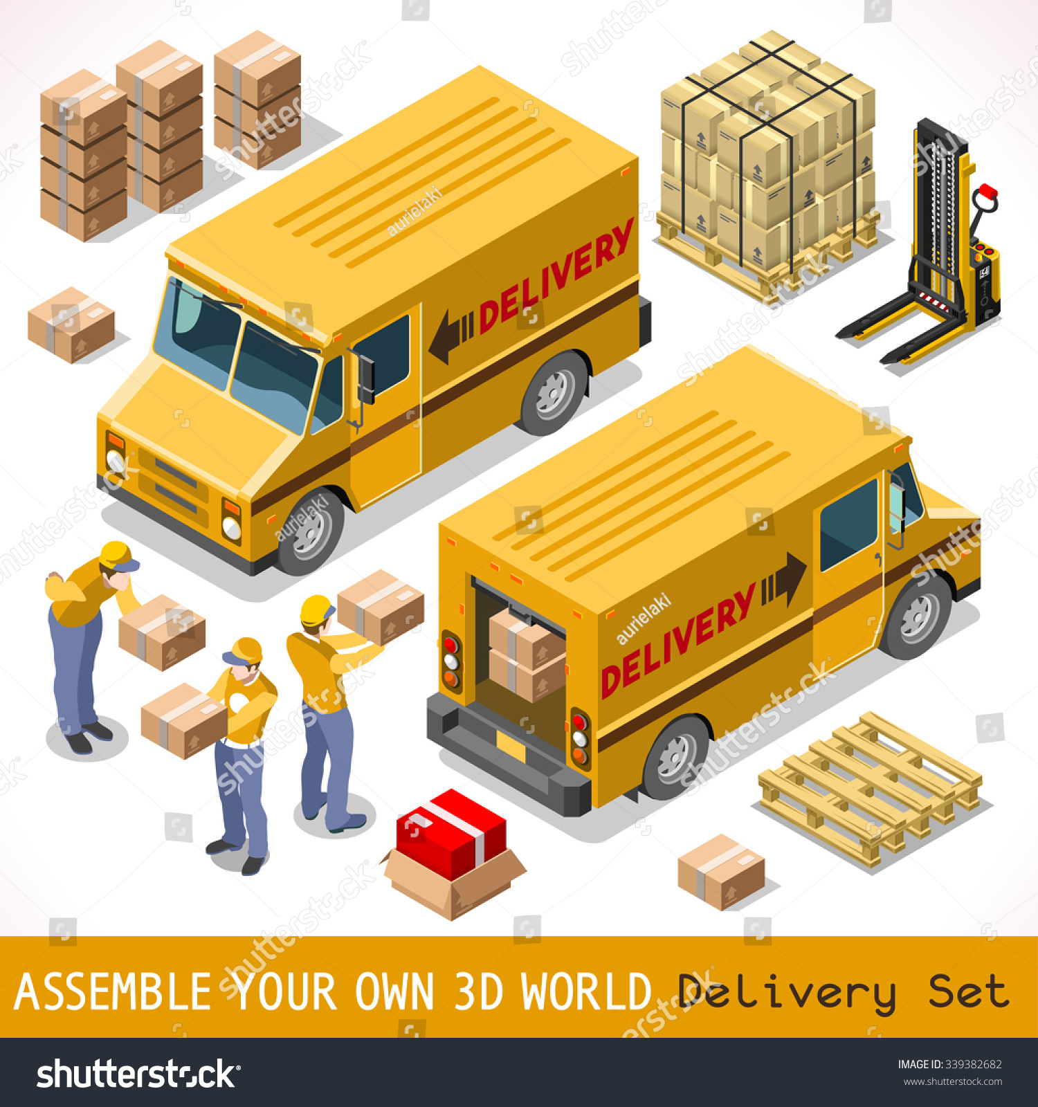 Delivery Service Chain Elements Collection Pallet Stock Photo (Photo ...