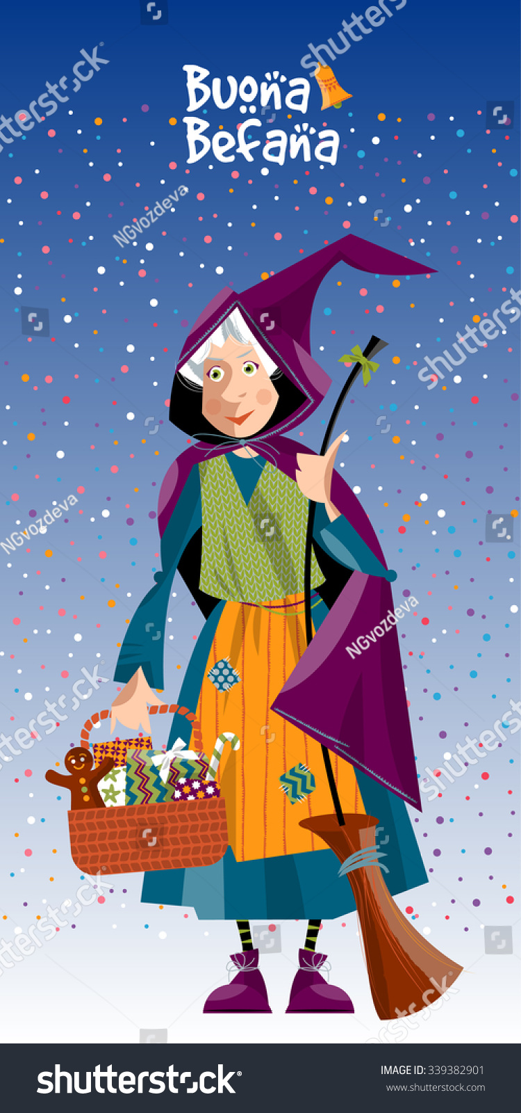 Greeting Card Buona Befana Happy Epiphany Stock Vector Royalty Free