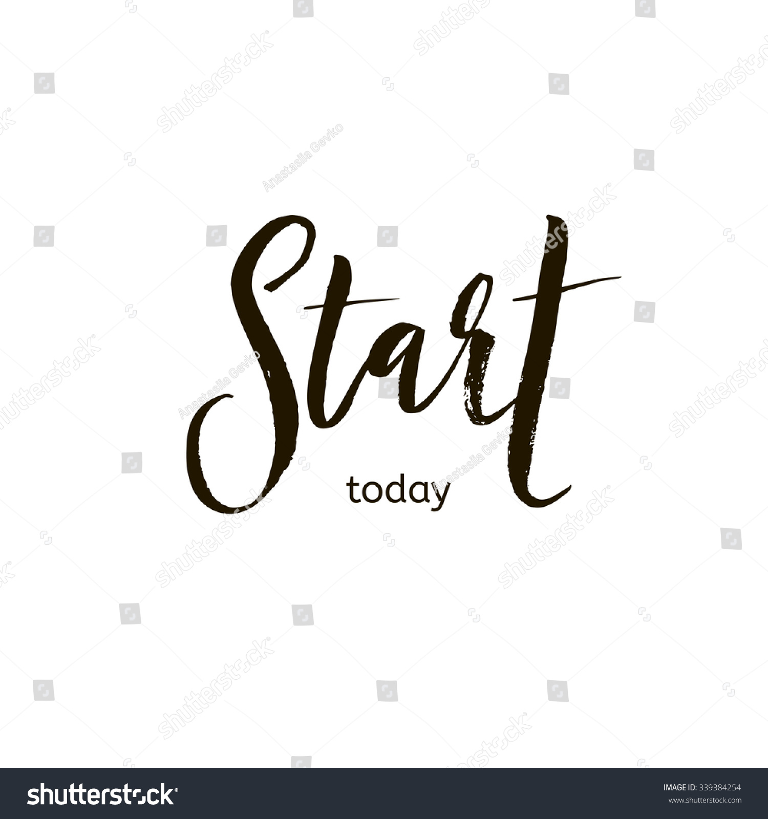 Start Today Card Hand Drawn Lettering Stock Vector