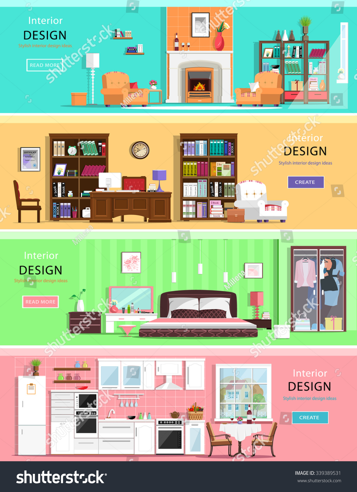 Set colorful vector interior design house stock vector for Room design vector