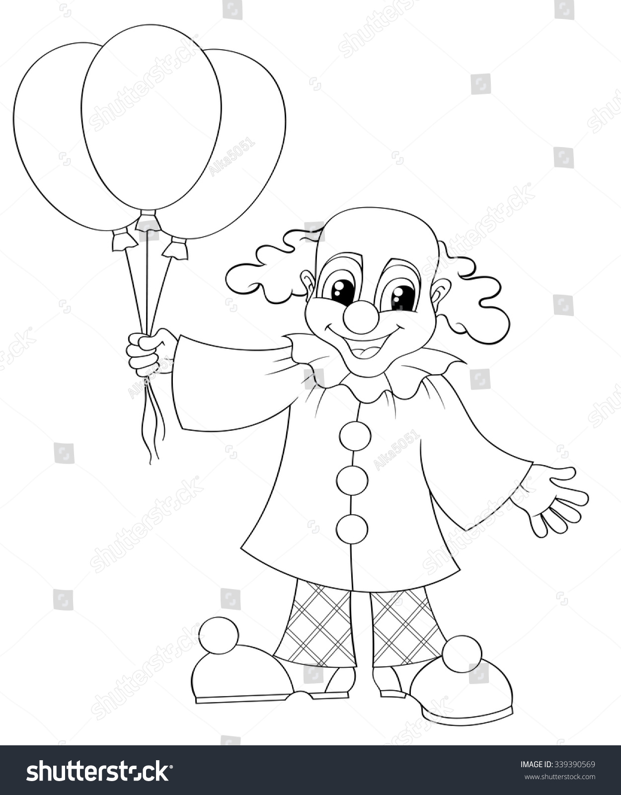 Funny Clown Balloons Black White Vector Stock Vector 339390569 ...