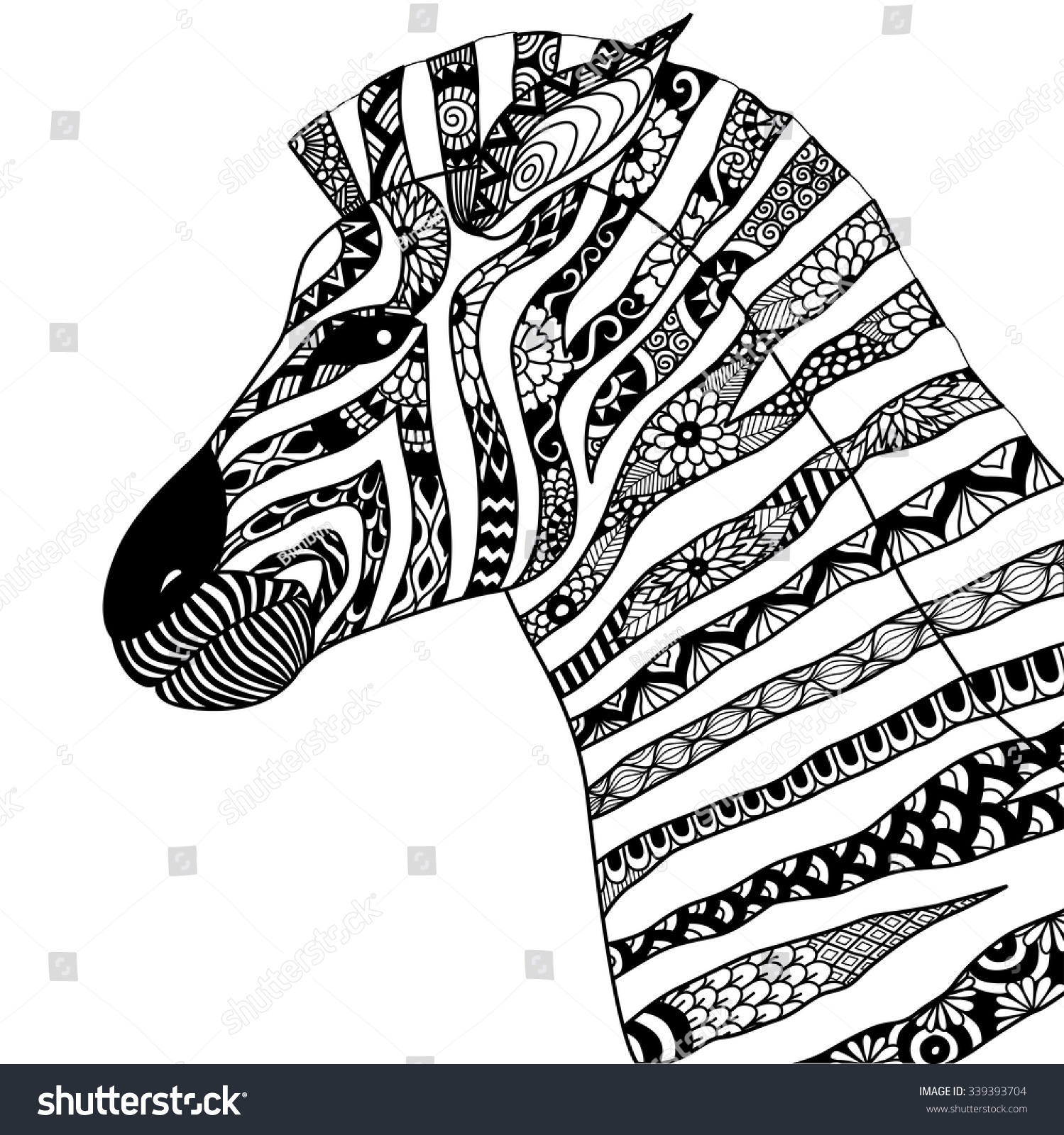 Zebra shirt design - Hand Drawn Zebra Zentangle Style For Coloring Book Tattoo T Shirt Design Logo