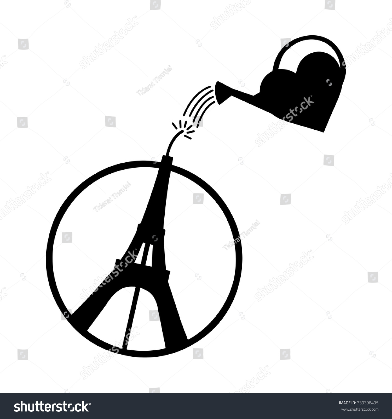 illustration vector eiffel tower circle heart stock vector