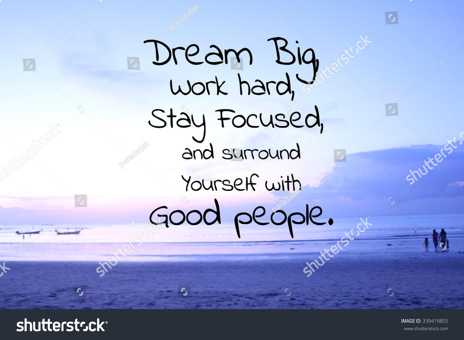inspirational quote on blurred beach background stock