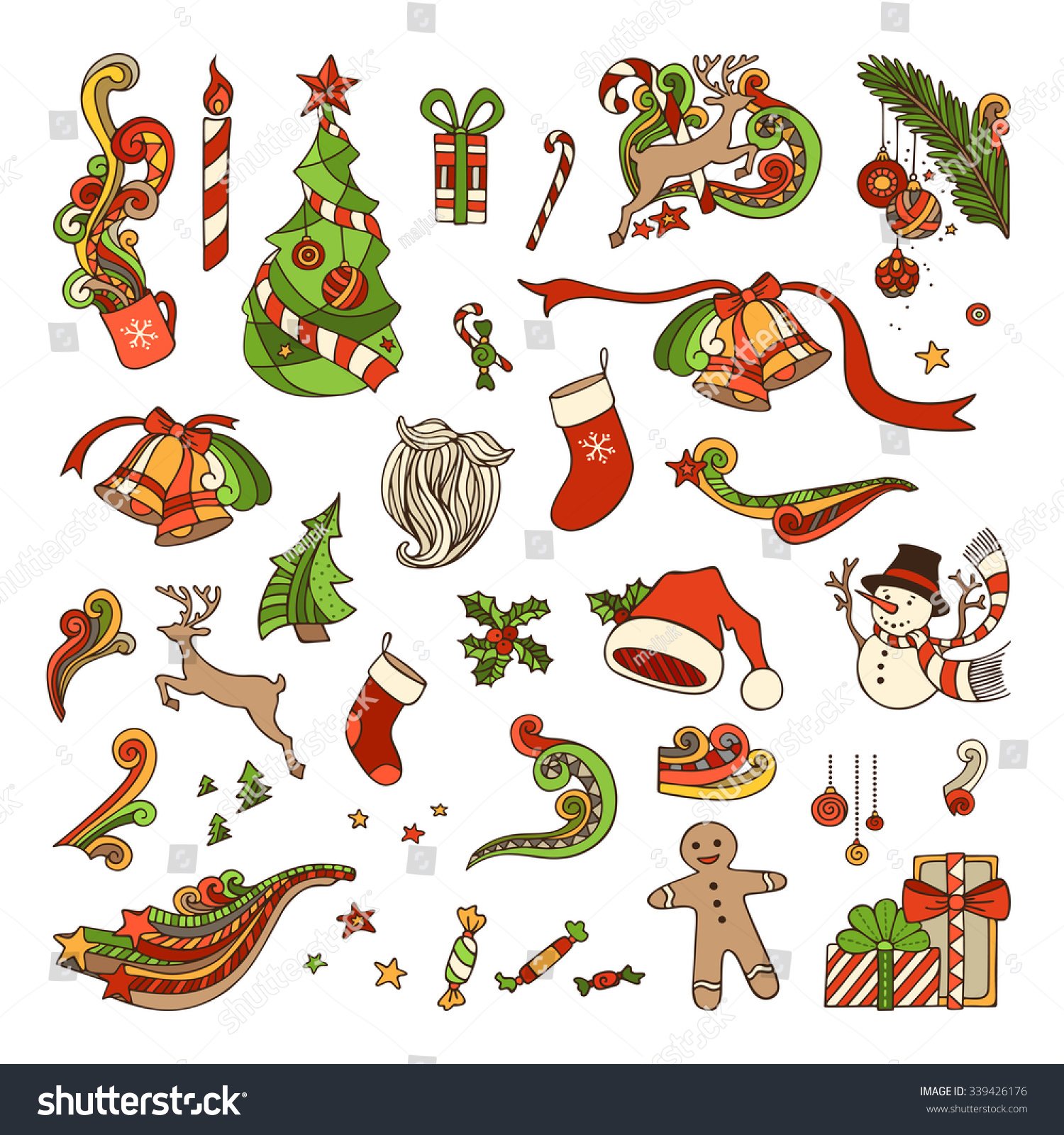 Vector Set Christmas Objects Christmas Tree Stock Vector ...