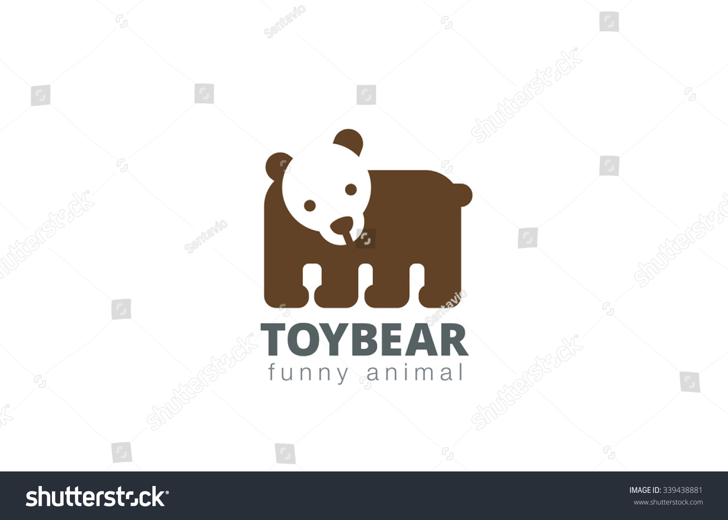 funny toy bear logo design vector stock vector royalty free