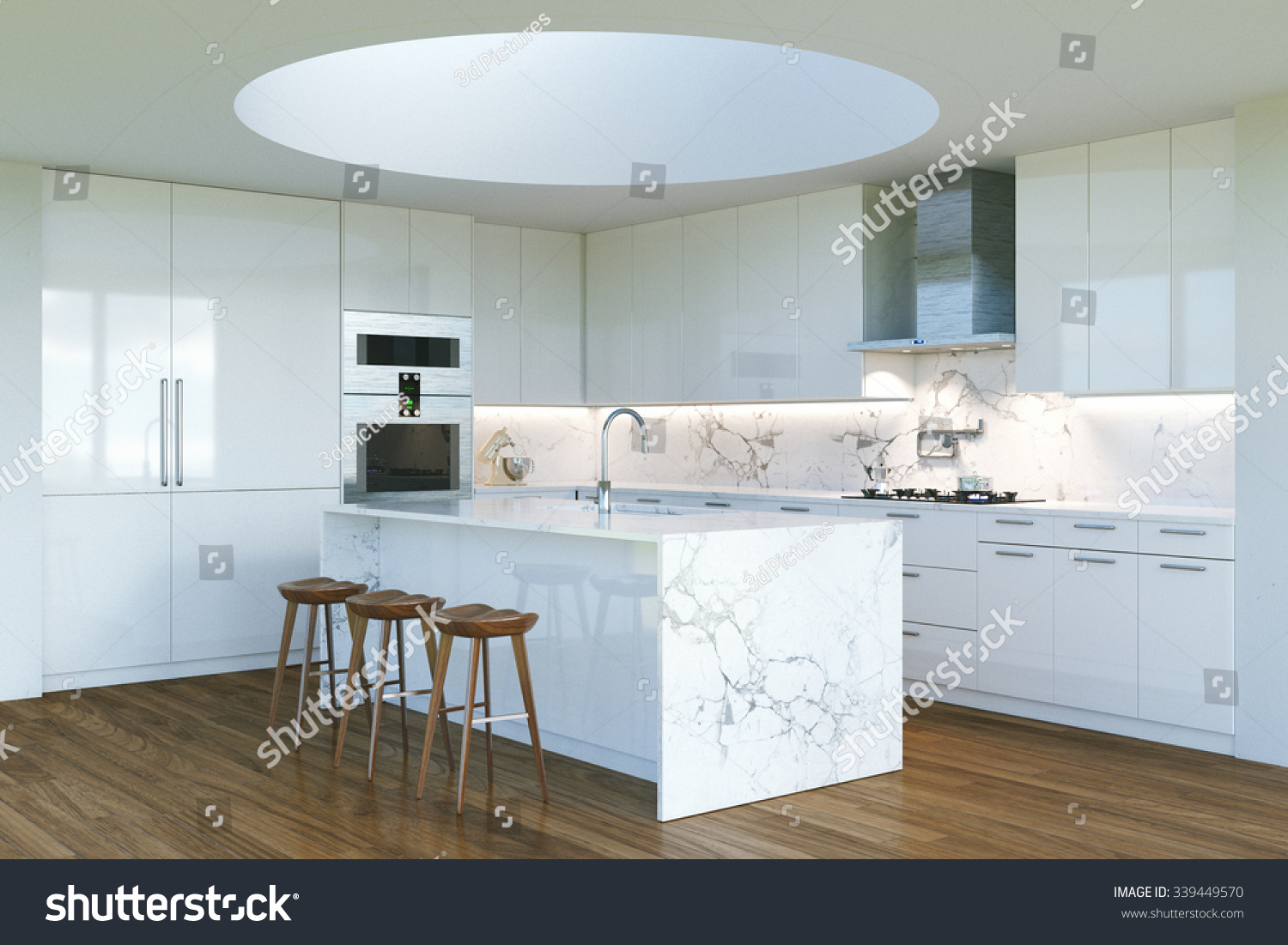New Contemporary White Kitchen Interior Round Stock Illustration ...