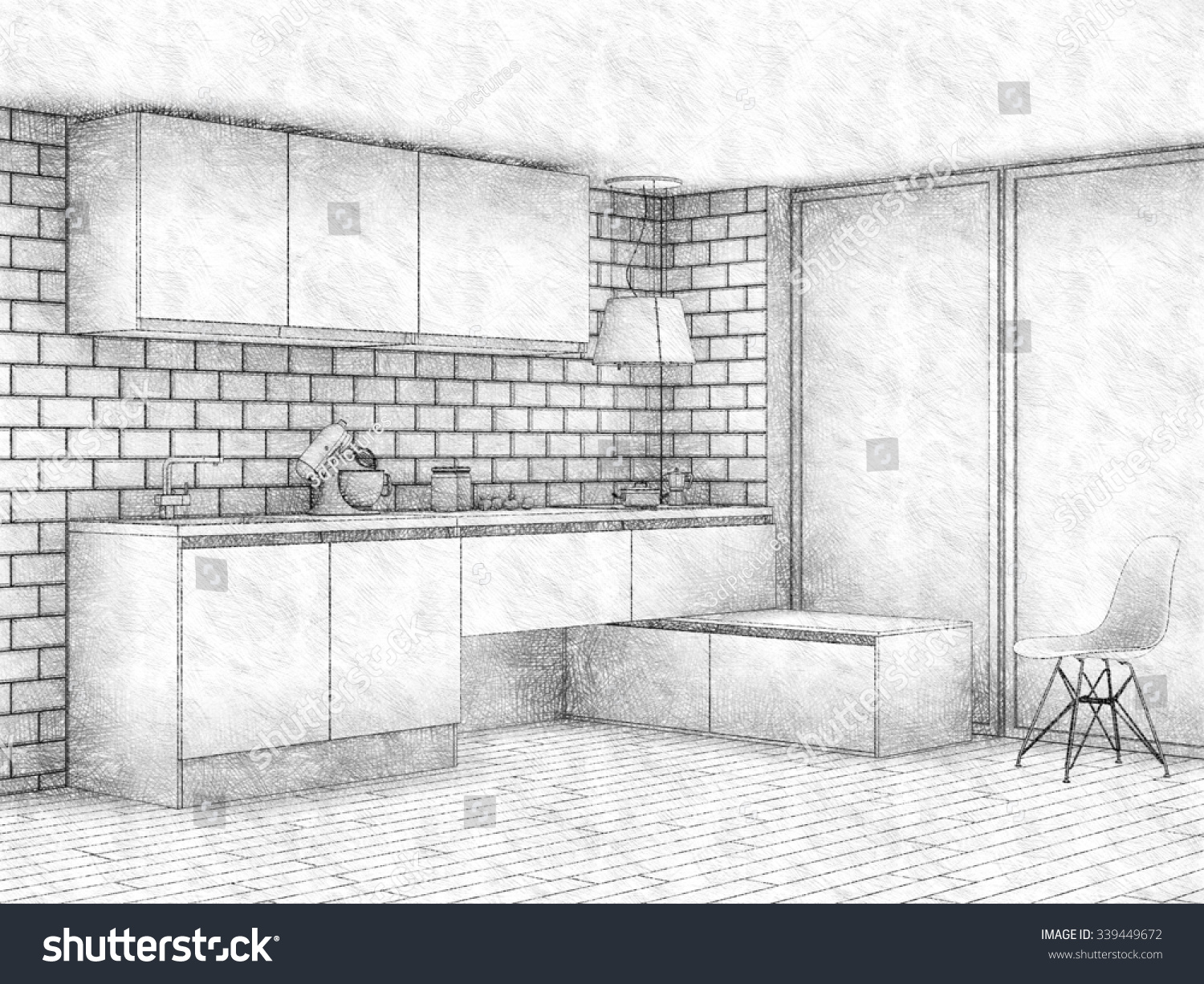 window pencil drawing. pencil sketch of modern kitchen interior with big window. 3d render window drawing