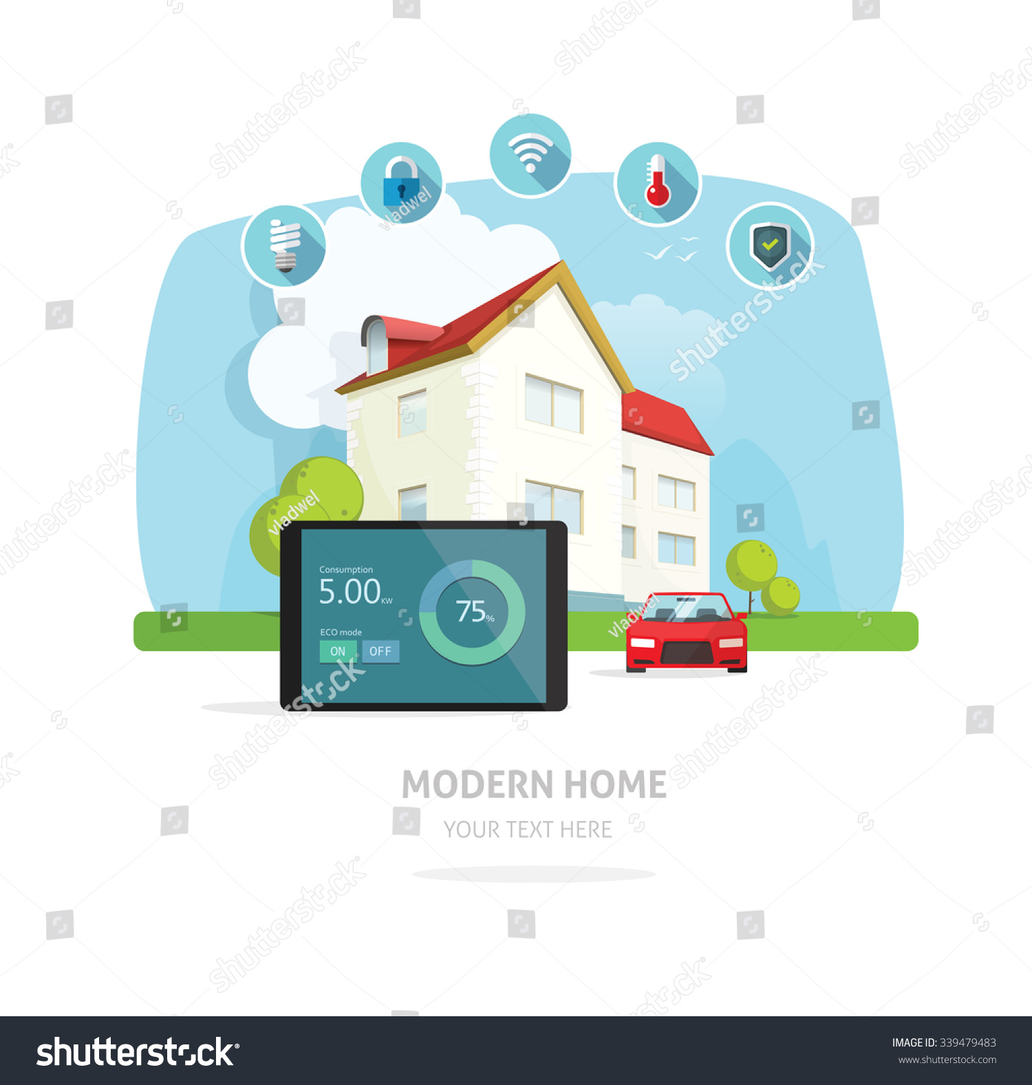 Smart Home Flat Style Modern House Design Service Vector