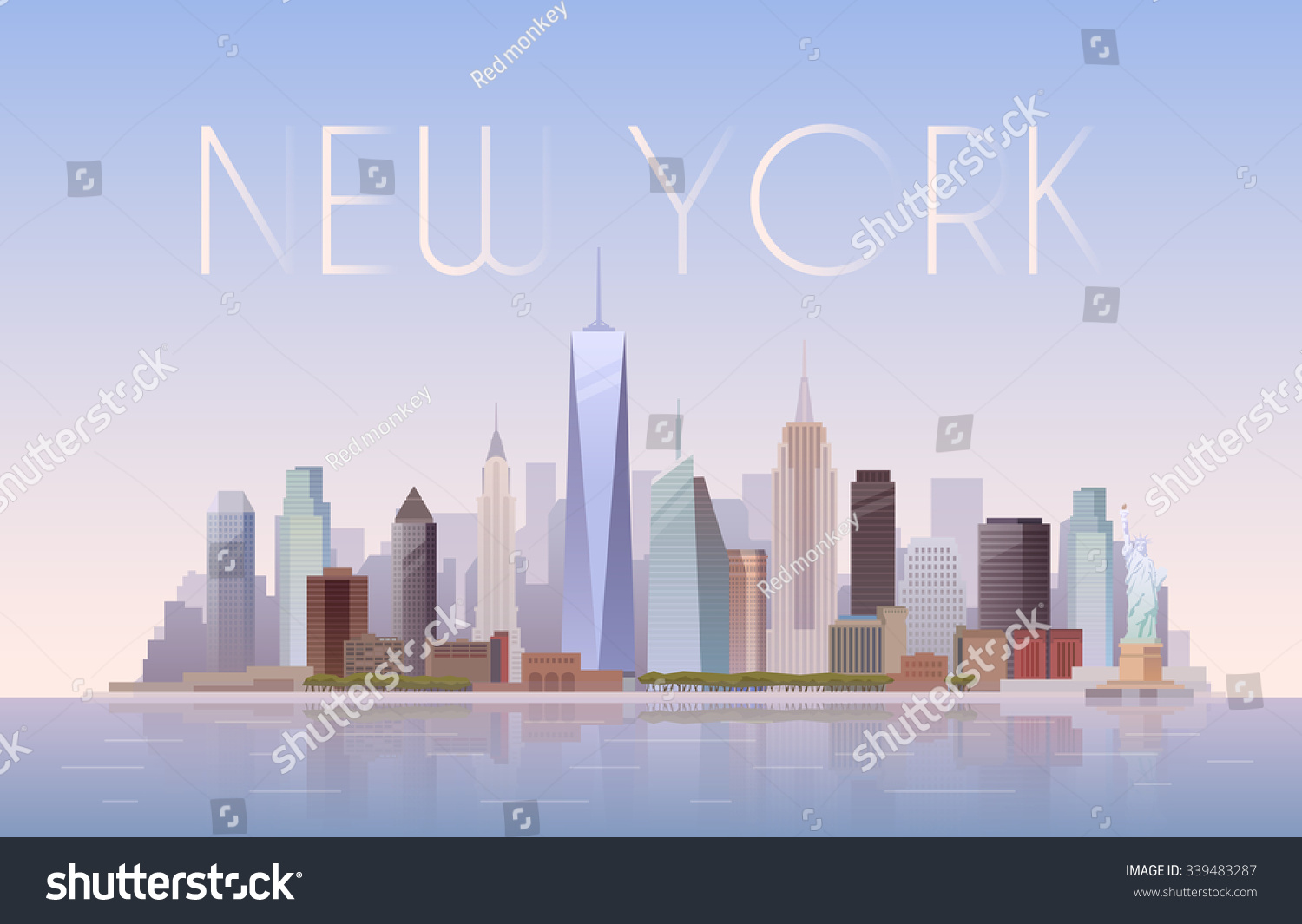 Vector background urban landscape new york stock vector for Landscape design new york