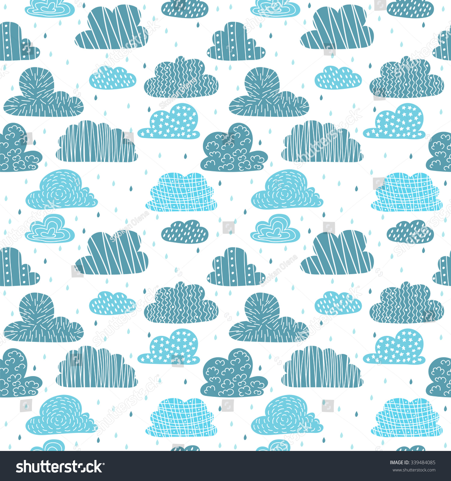 Cute Hand Drawn Seamless Pattern Clouds Stock Vector (Royalty Free ...