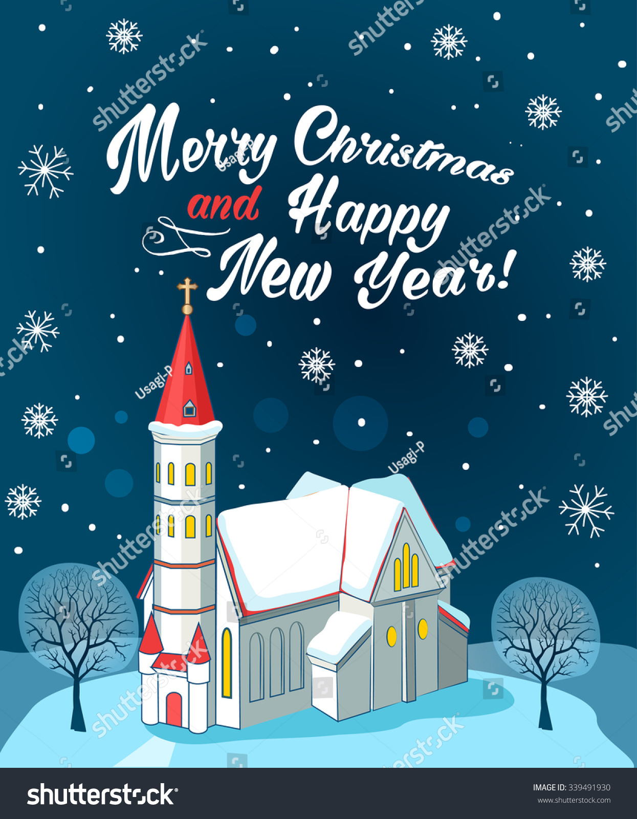christian church with text merry christmas and happy new year winter landscape vector illustration
