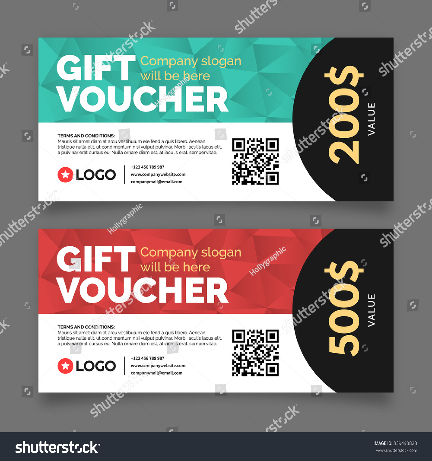 Gift voucher template set two cards stock vector 339493823 gift voucher template set of two cards with place for your text vector graphic 1betcityfo Images