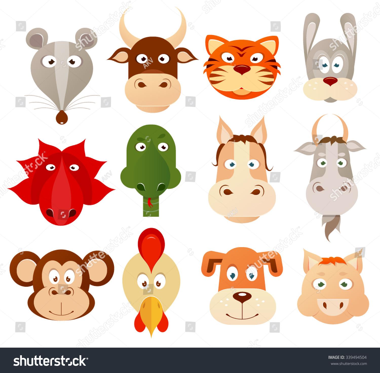 Set Of Twelve Cartoon Animals As Symbols Of Chinese Zodiac Horoscope