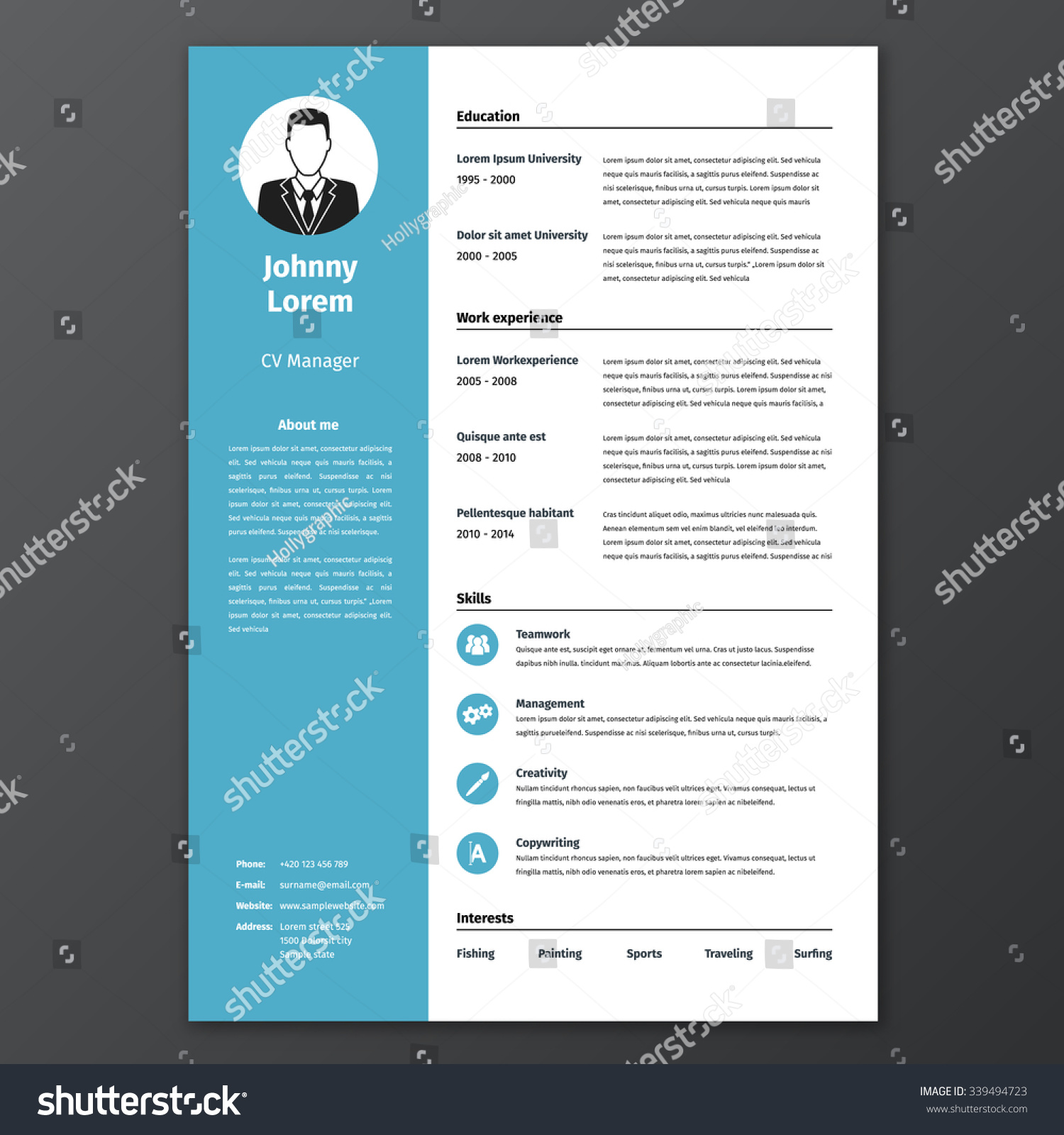 Cv Resume Template Vector Graphic Layout Stock Photo Photo Vector