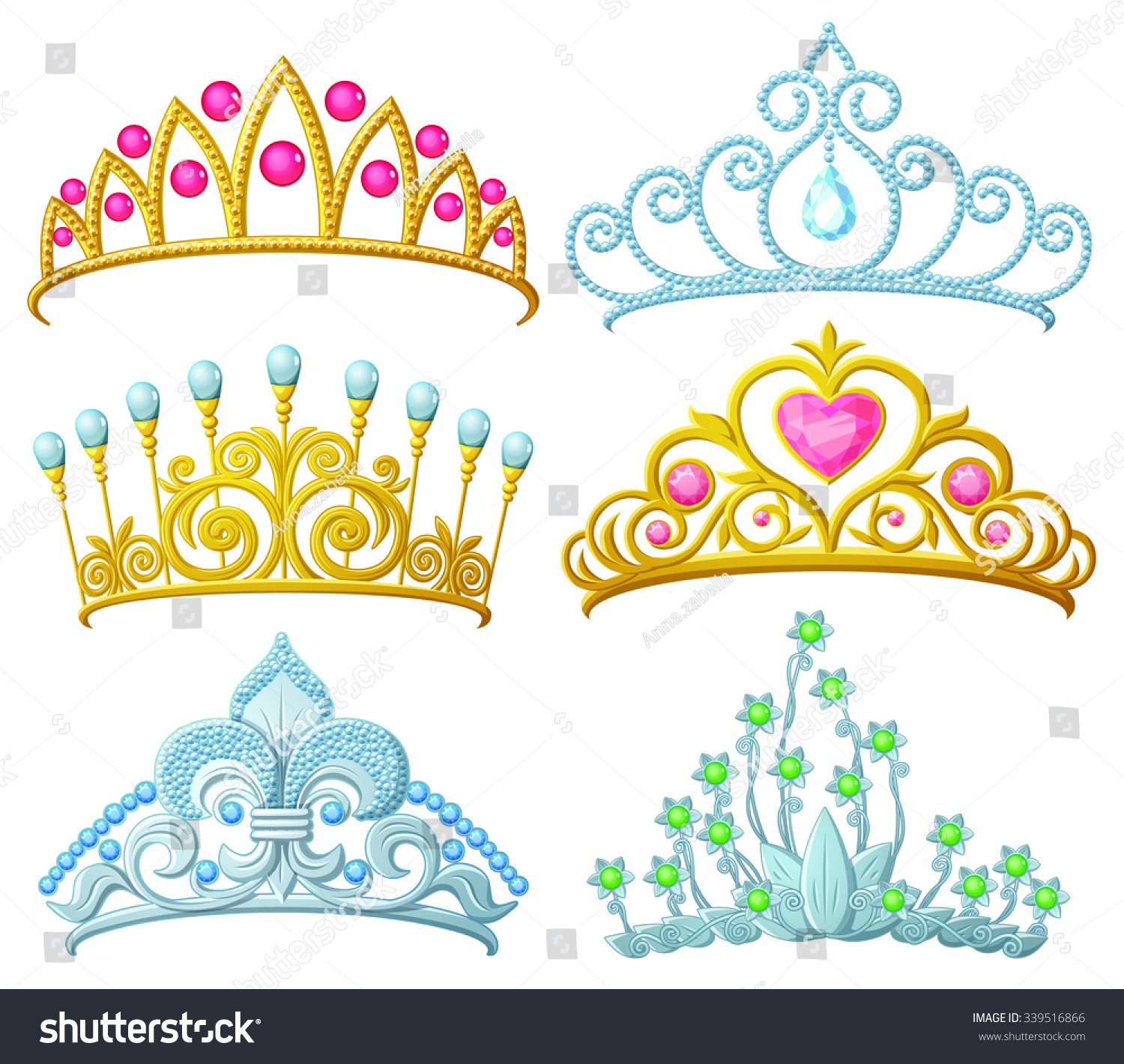 Set Of Princess Crowns Tiara Isolated On White Vector Illustration