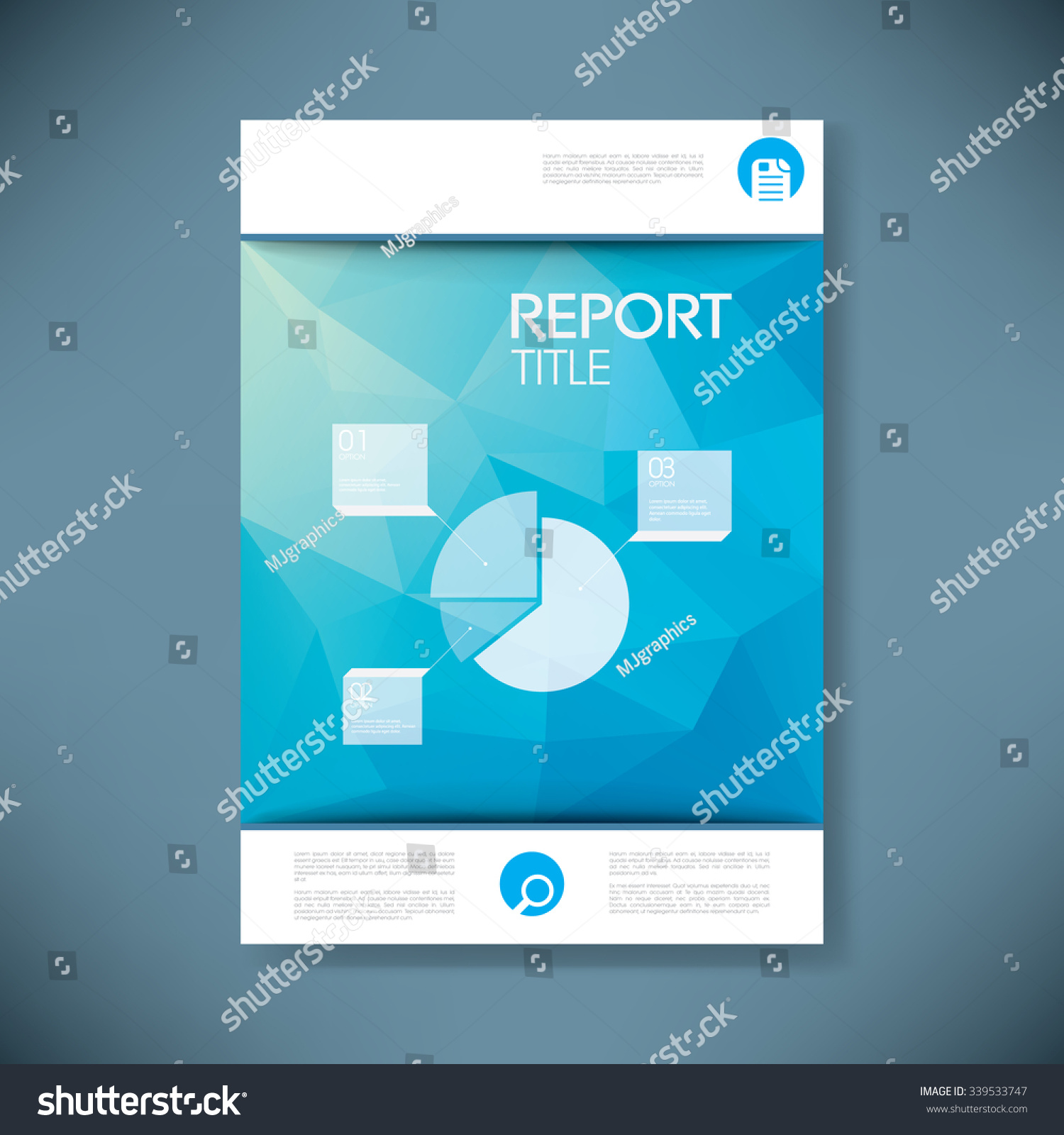 royalty report cover template for business stock report cover template for business presentation or brochure pie chart infographcis layout on blue low