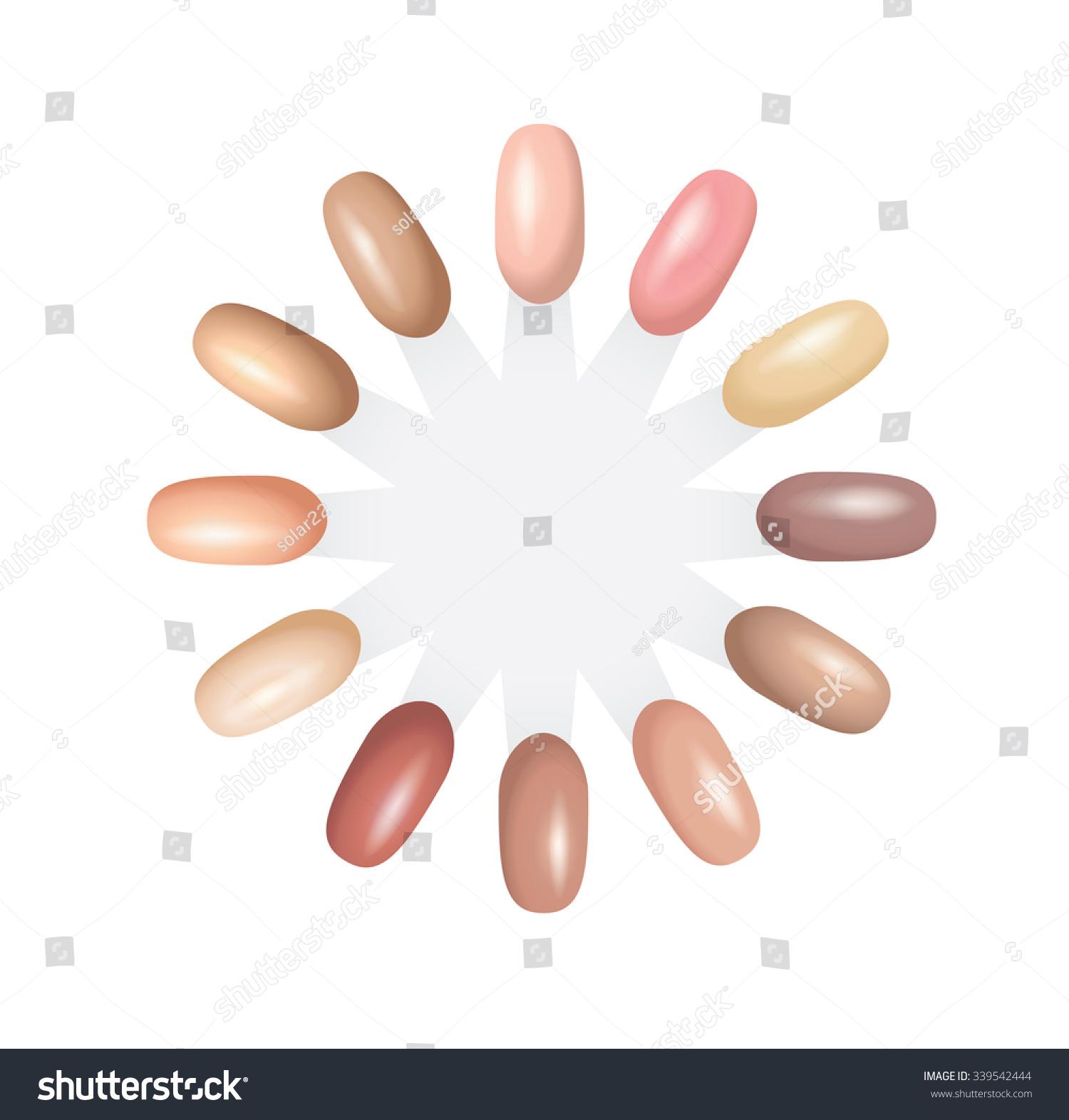 Nail Polish Nude Color Chart Tone Stock Vector 339542444 - Shutterstock