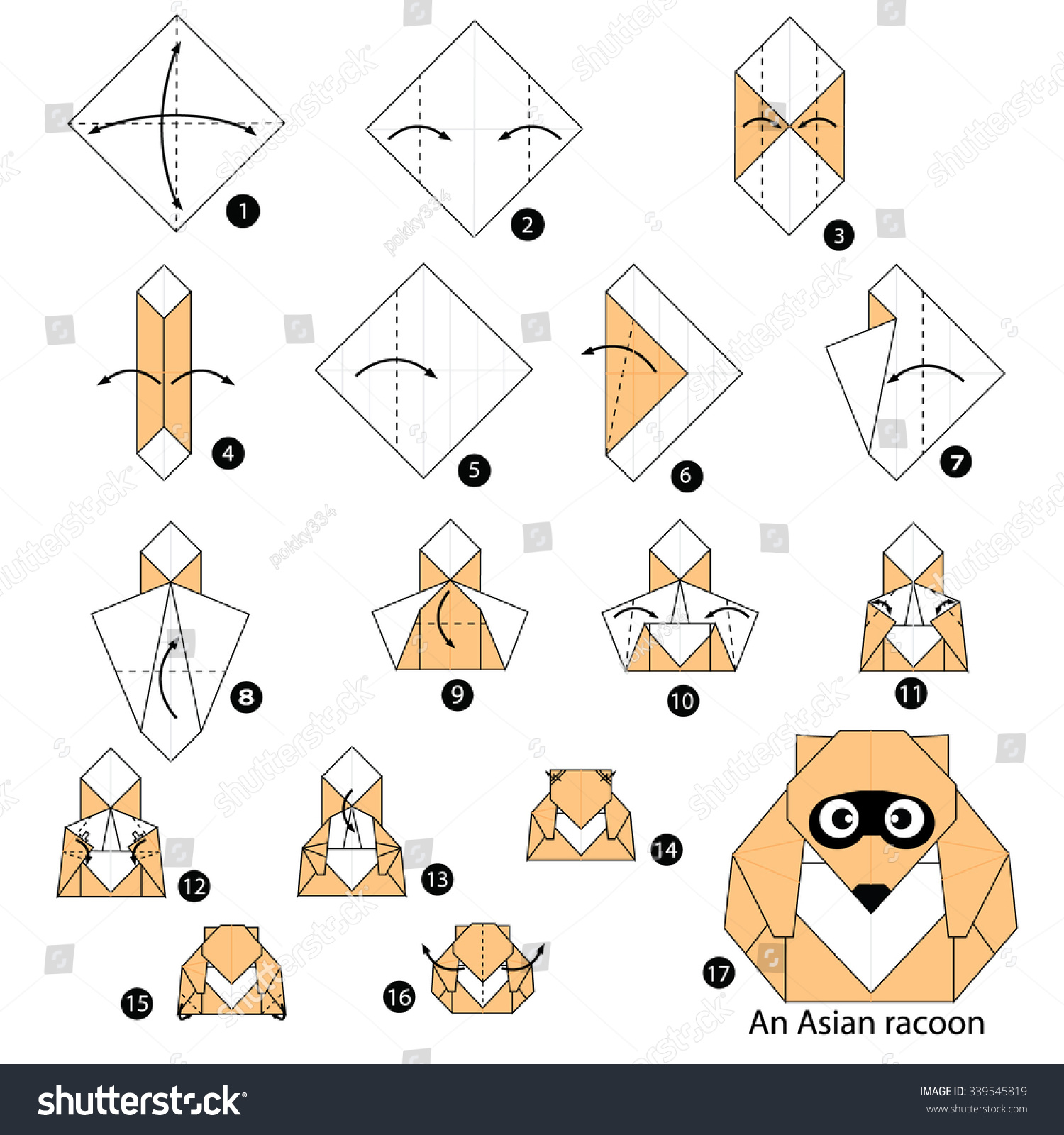 Sensational Step By Step Instructions How To Make Origami An Asian Raccoon Hairstyles For Women Draintrainus