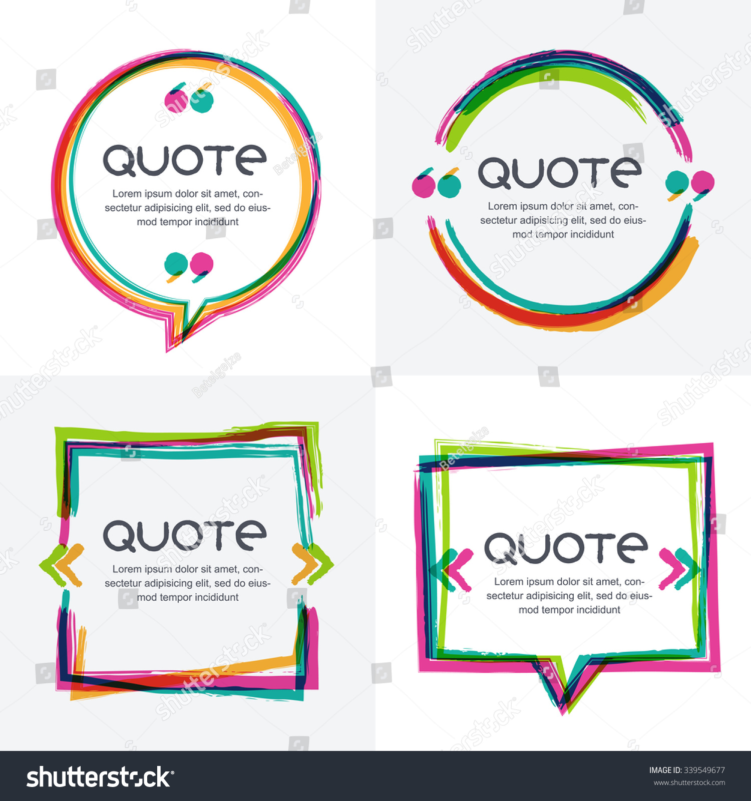 vector set quote forms template colorful のベクター画像素材