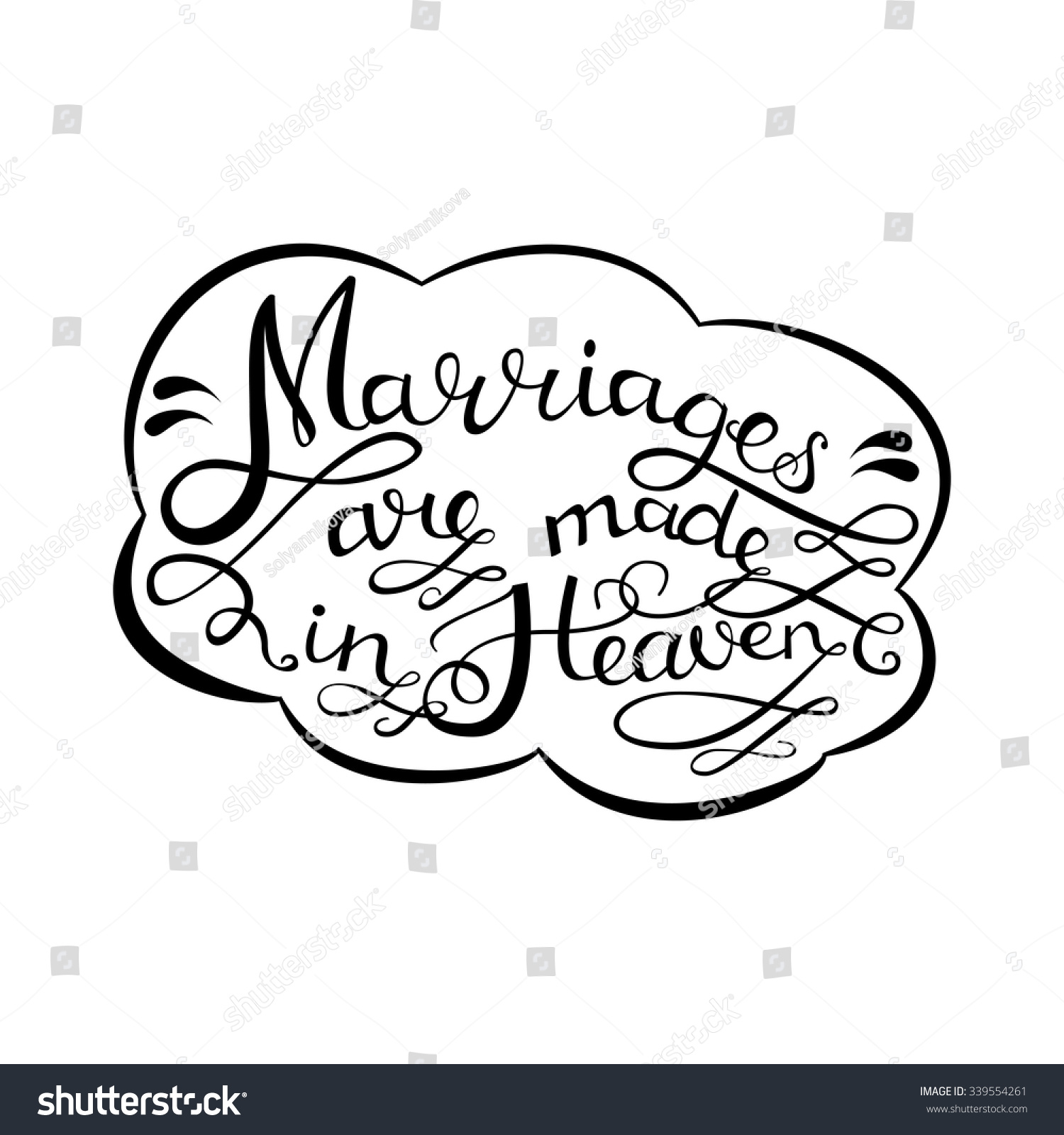 Marriages Made Heaven Handdrawn Romantic Quotes Stock Vector