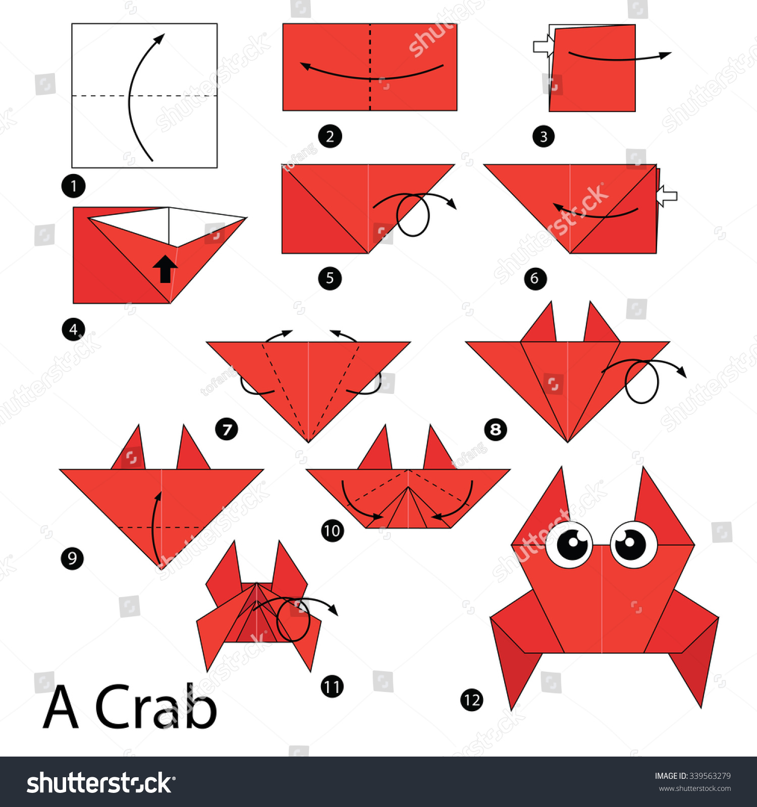 Step By Instructions How To Make Origami A Crab Stock Vector