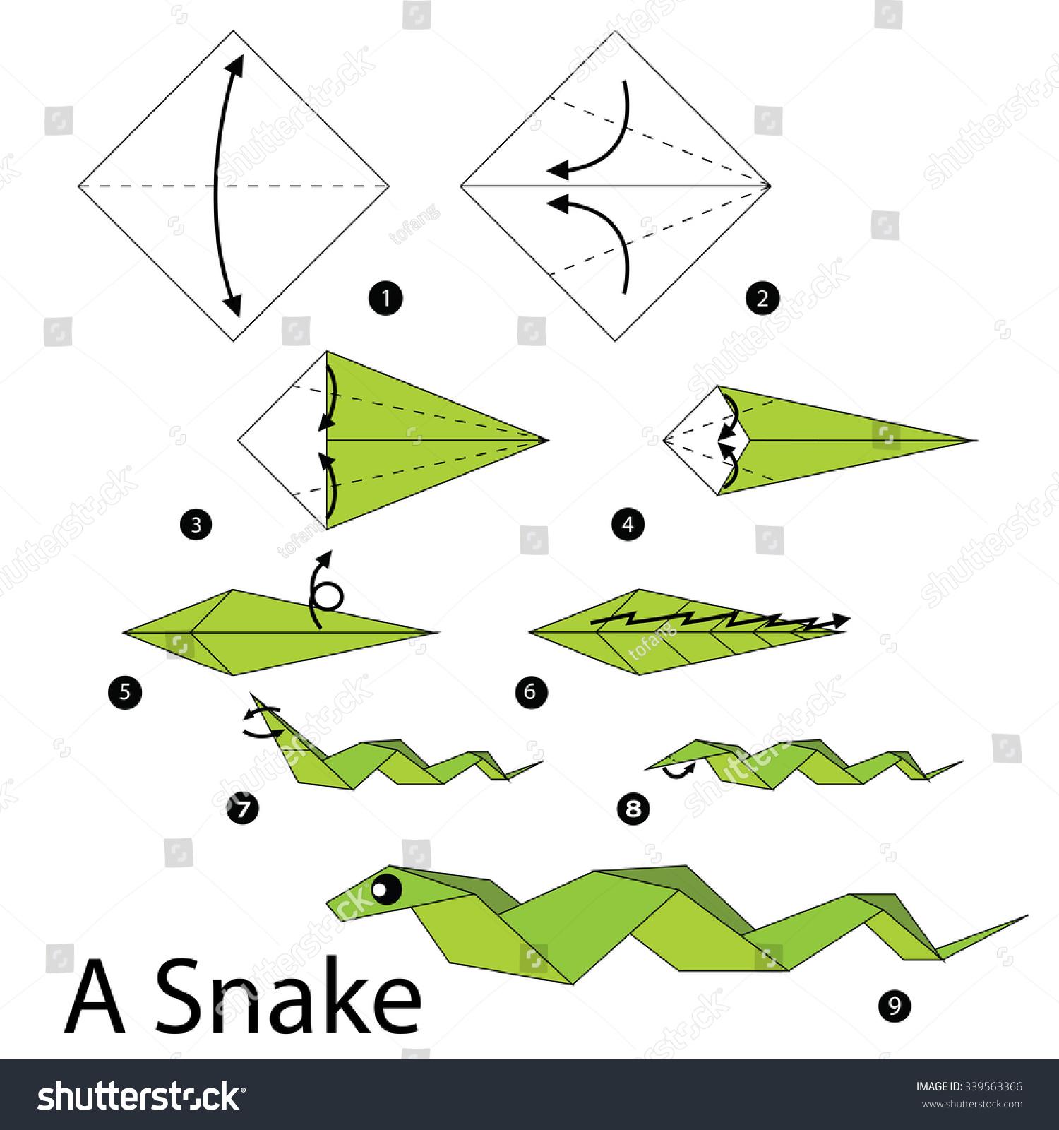 Змея из бумаги оригами схема