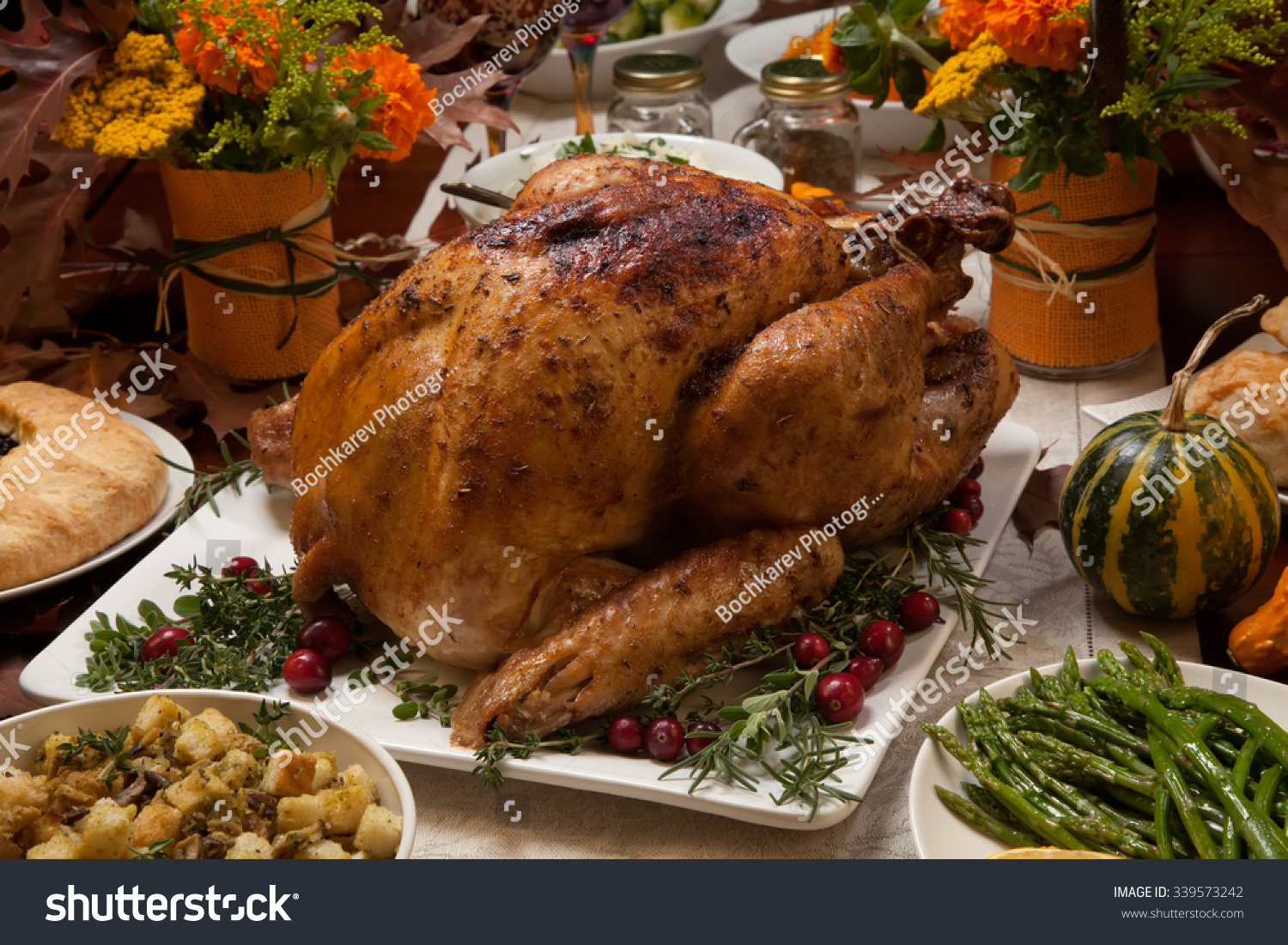 Roasted Turkey Garnished With Cranberries On A Rustic ...