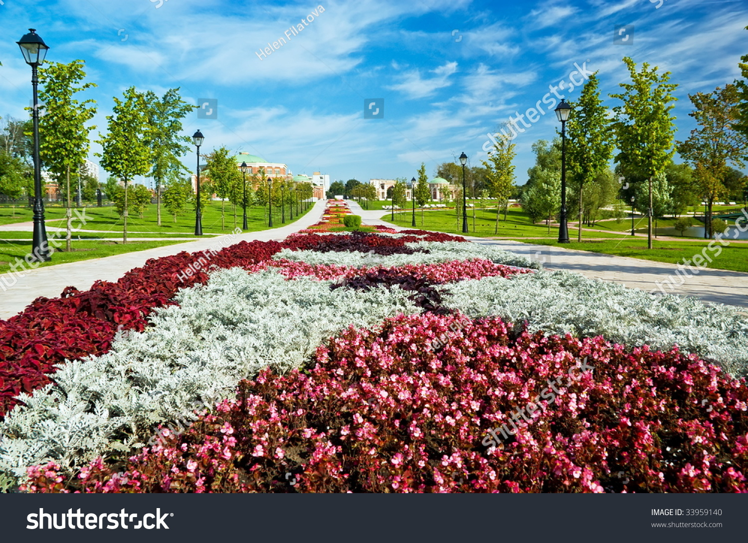 Beautiful flower bed formal garden moscow stock photo edit now a beautiful flower bed in a formal garden moscow the state museum reserve park izmirmasajfo