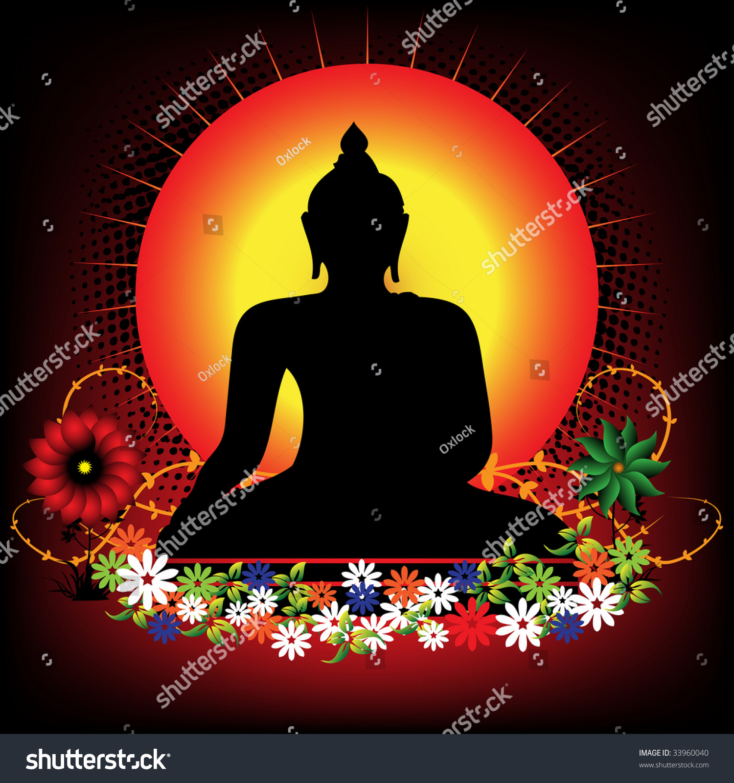 Abstract Colorful Illustration Buddha Silhouette