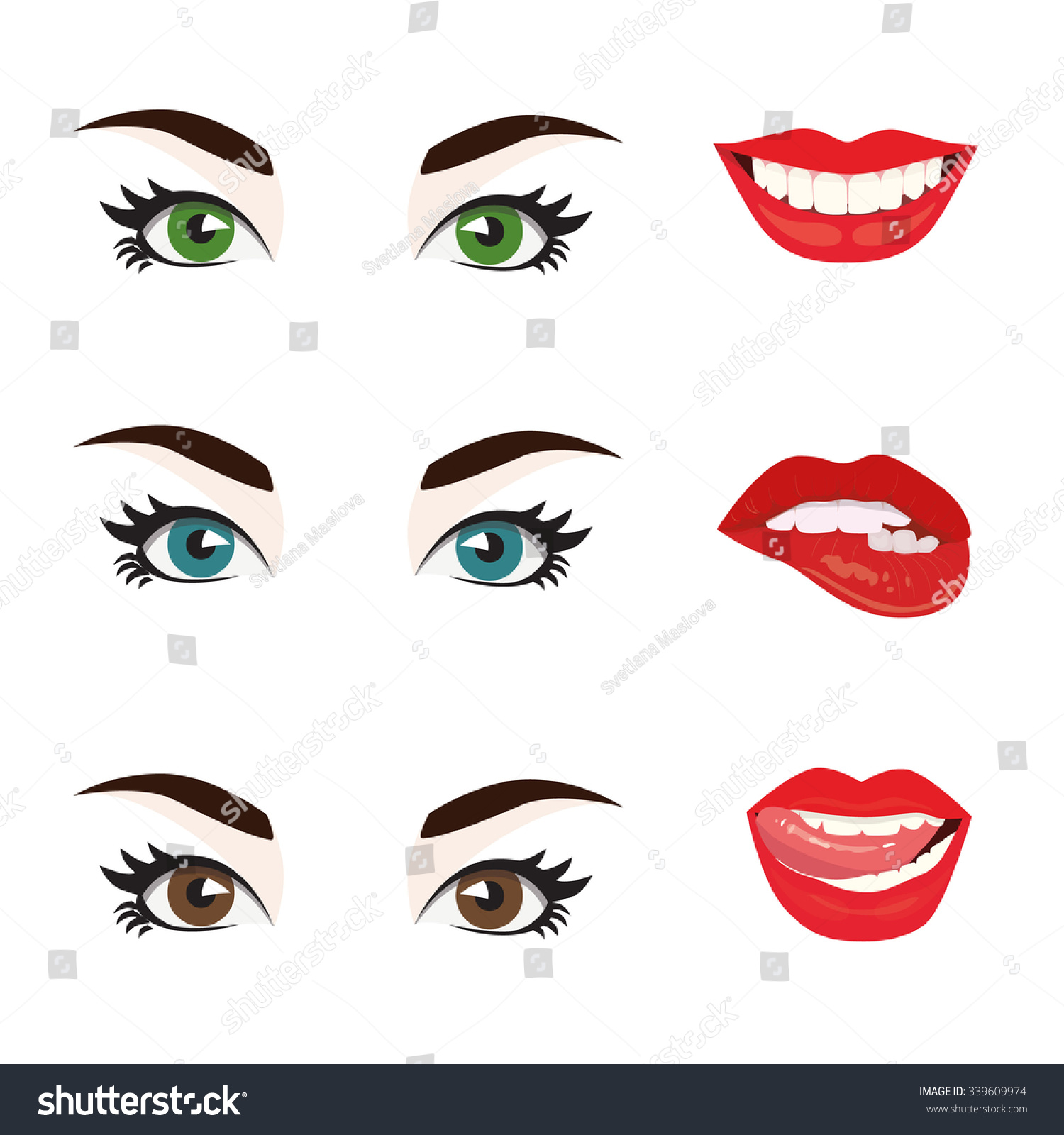 Female Lips With A Smile. The Mouth With A Kiss. Vector ...