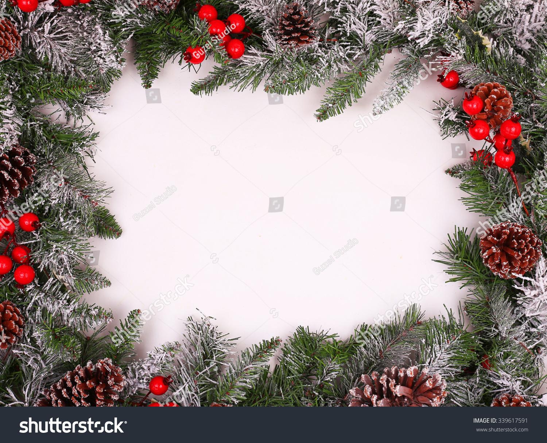 Border Frame Christmas Tree Branches Pine Stock Photo