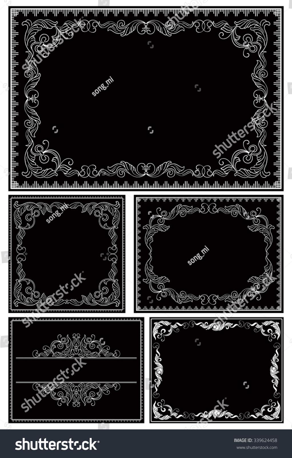 Vintage Ornate Borders Vector Set Frames Stock Vector HD (Royalty ...