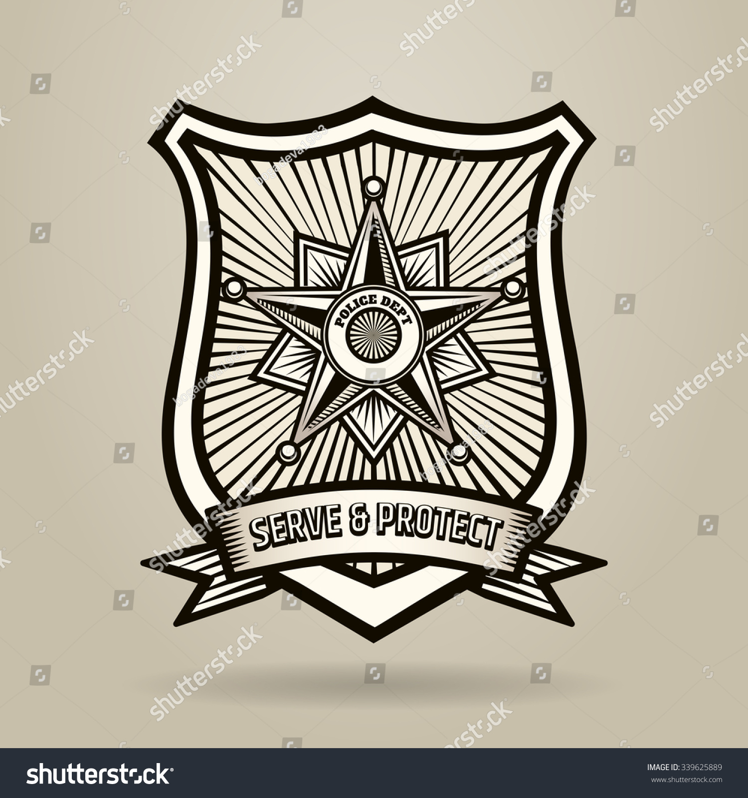 police badge wording serve protect illustration stock vector